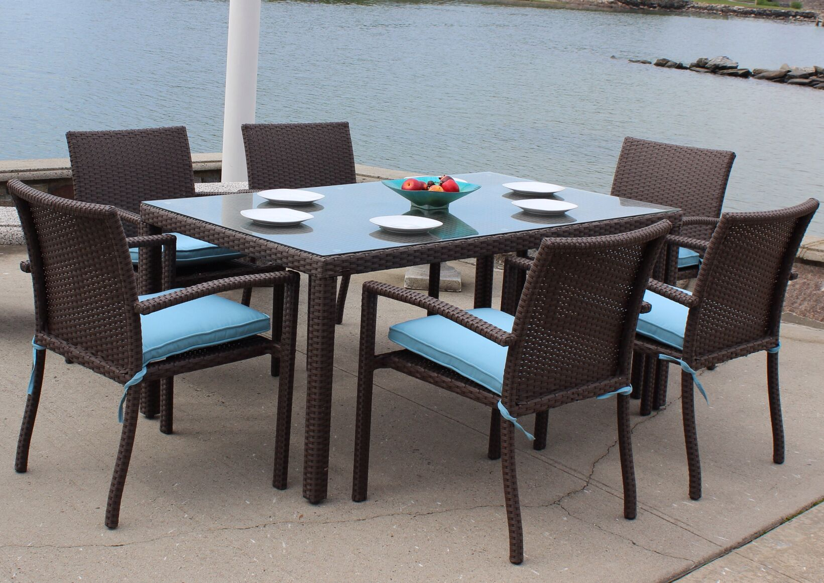 Sonoma Outdoor Wicker 7 Piece Dining Set with Cushions Cushion Color: Green White Stripe