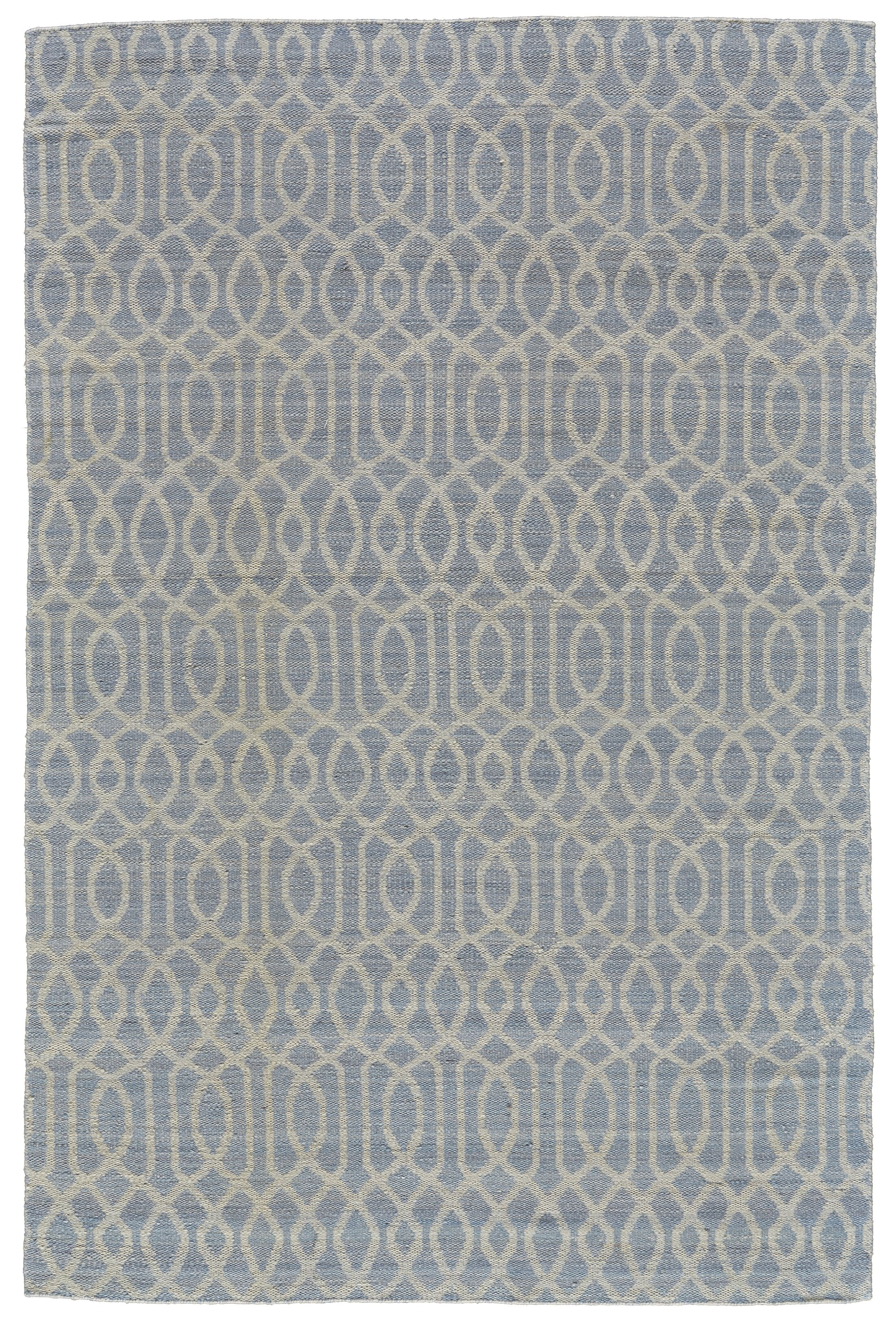 Bannerdown Hand-Loomed Light Blue Wool Pile Area Rug Rug Size: Rectangle 8' x 10'