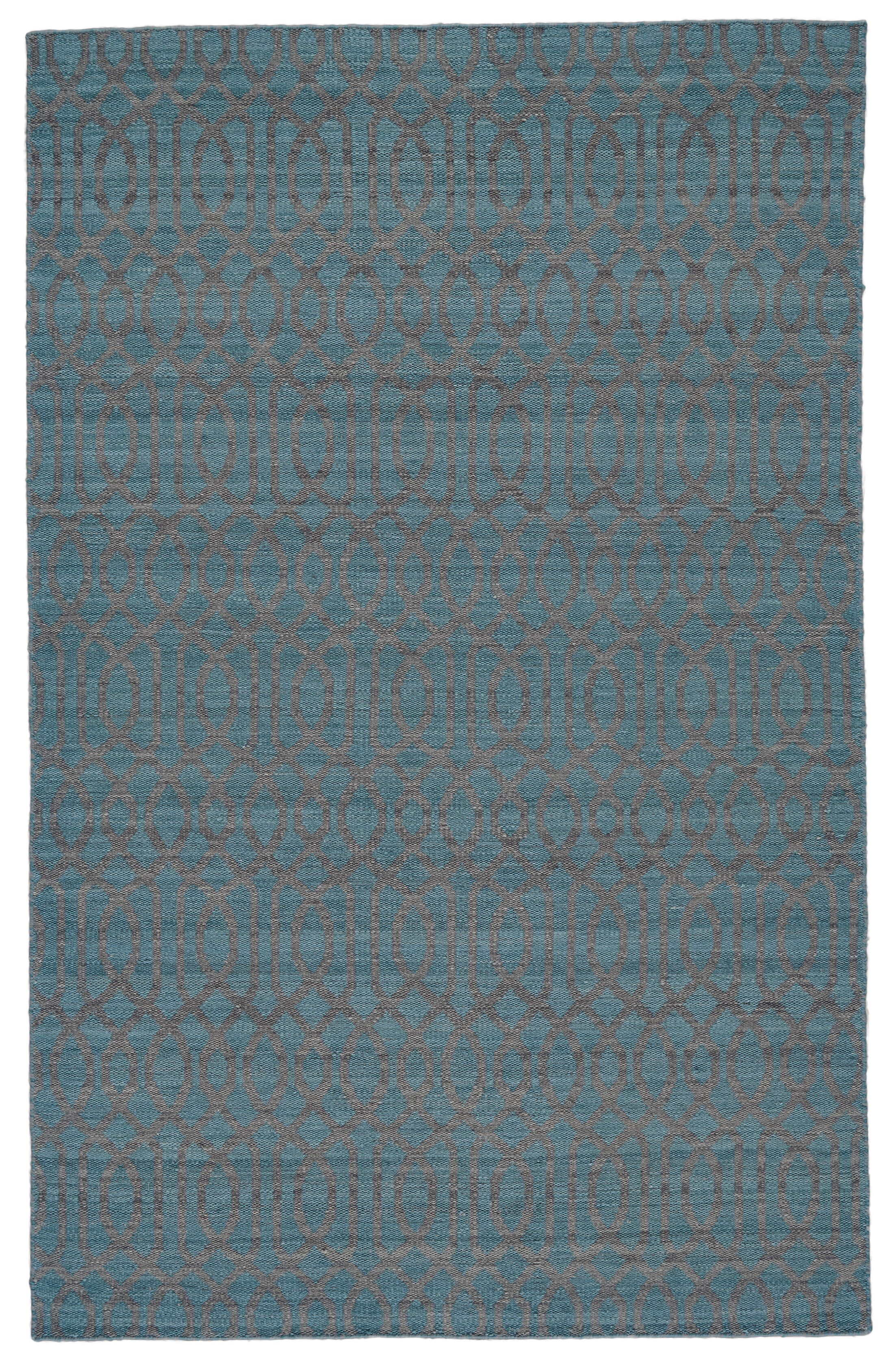 Hallock Hand-Loomed Teal Area Rug Rug Size: Rectangle 8' x 10'