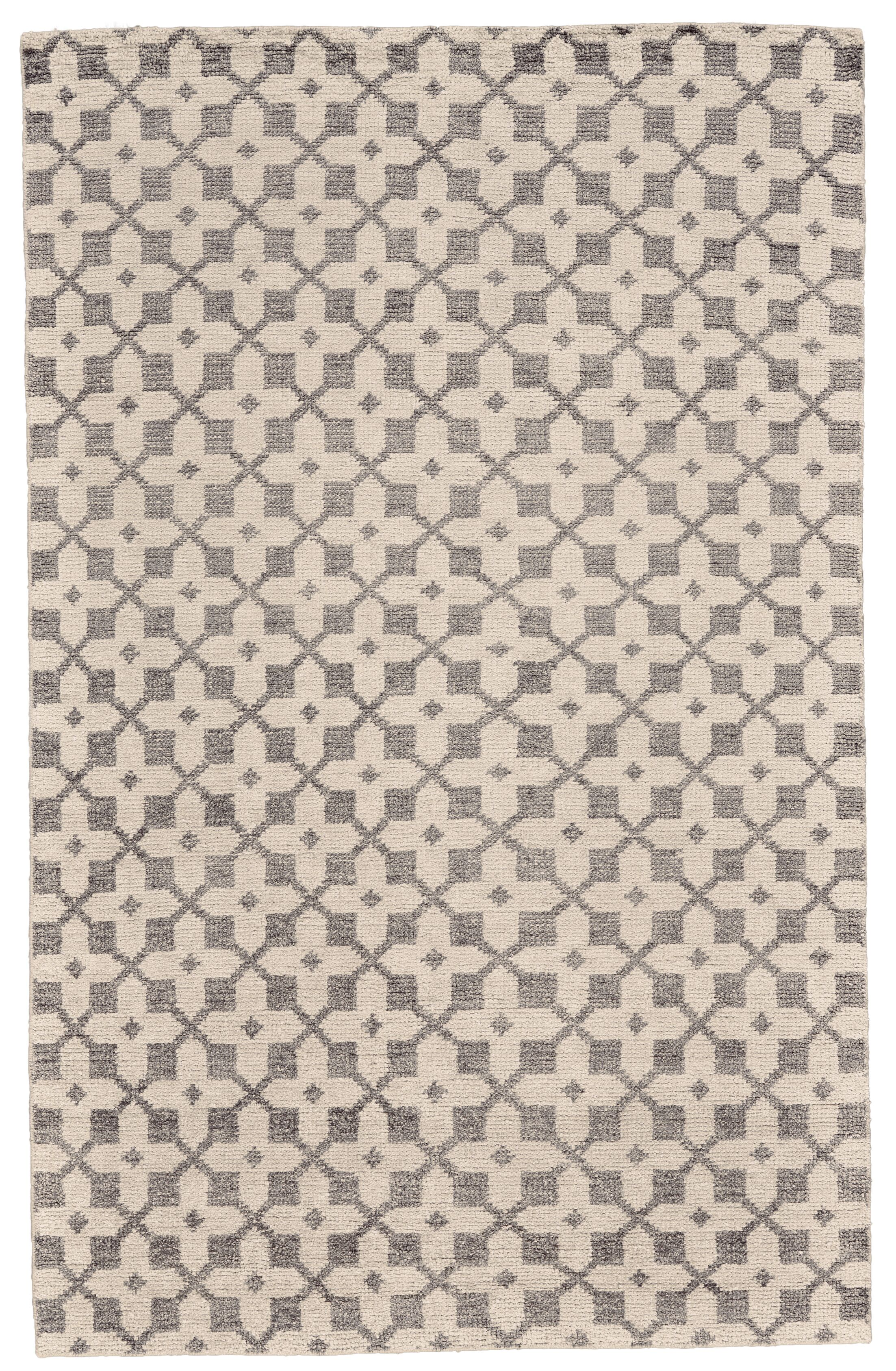 Halloran Hand-Knotted Ivory/Gray Area Rug Rug Size: Rectangle 4' x 6'