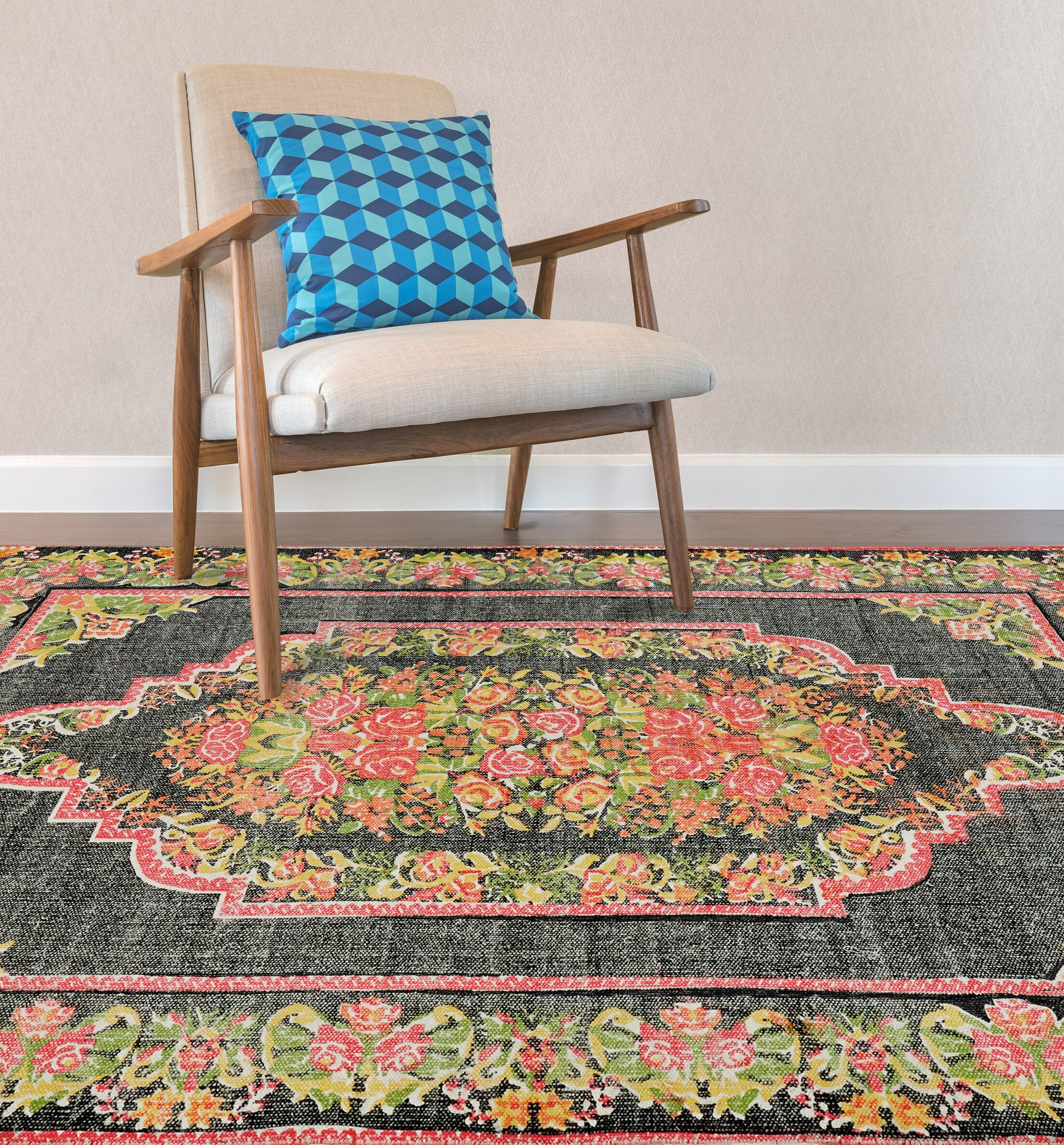 Jeremie Hand-Woven Gray/Green/Pink Area Rug Rug Size: Rectangle 5' x 8'