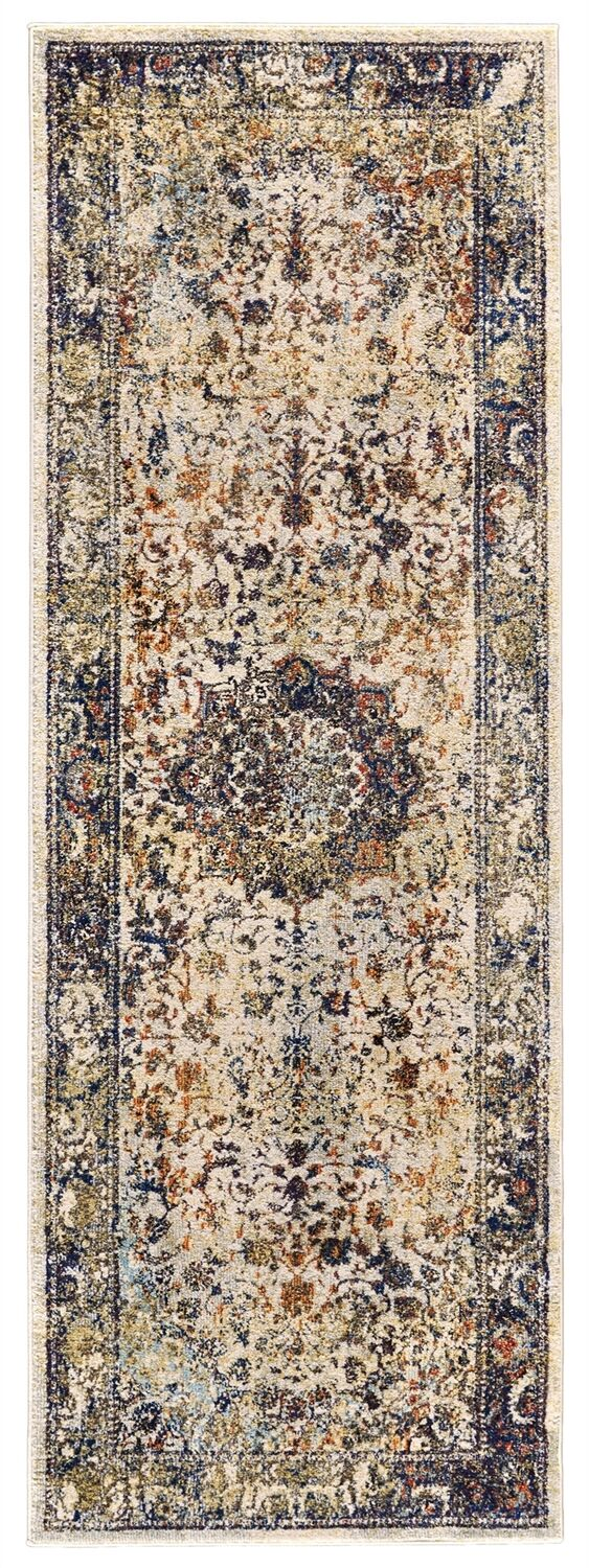 Greenwich Village Cream/Navy Area Rug Rug Size: Runner 2'10