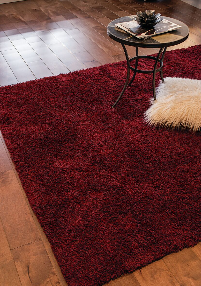 Annmarie Solid Red Shag Area Rug Rug Size: 7'10
