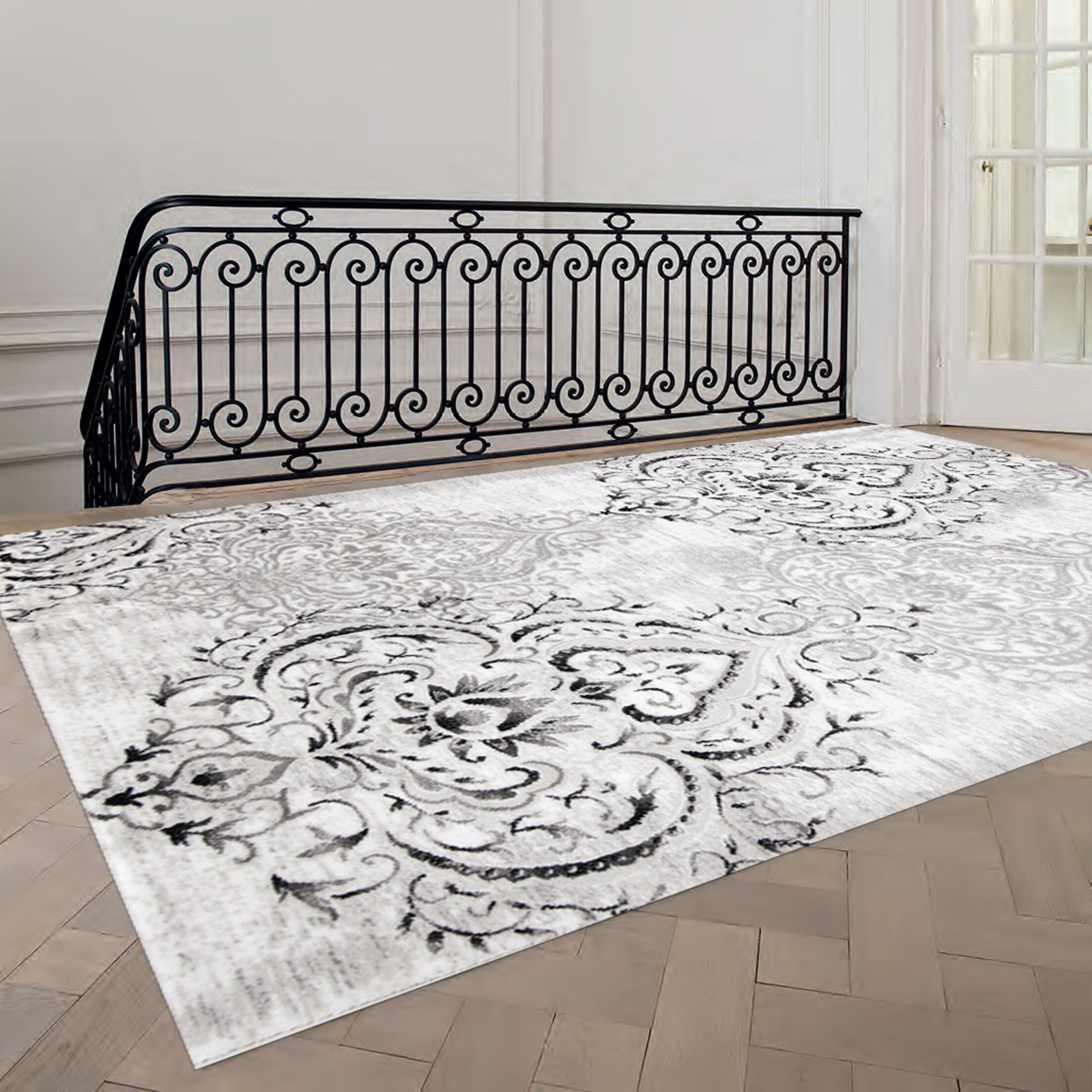 Abbate Venetian Grey/White Area Rug Rug Size: Rectangle 7'10
