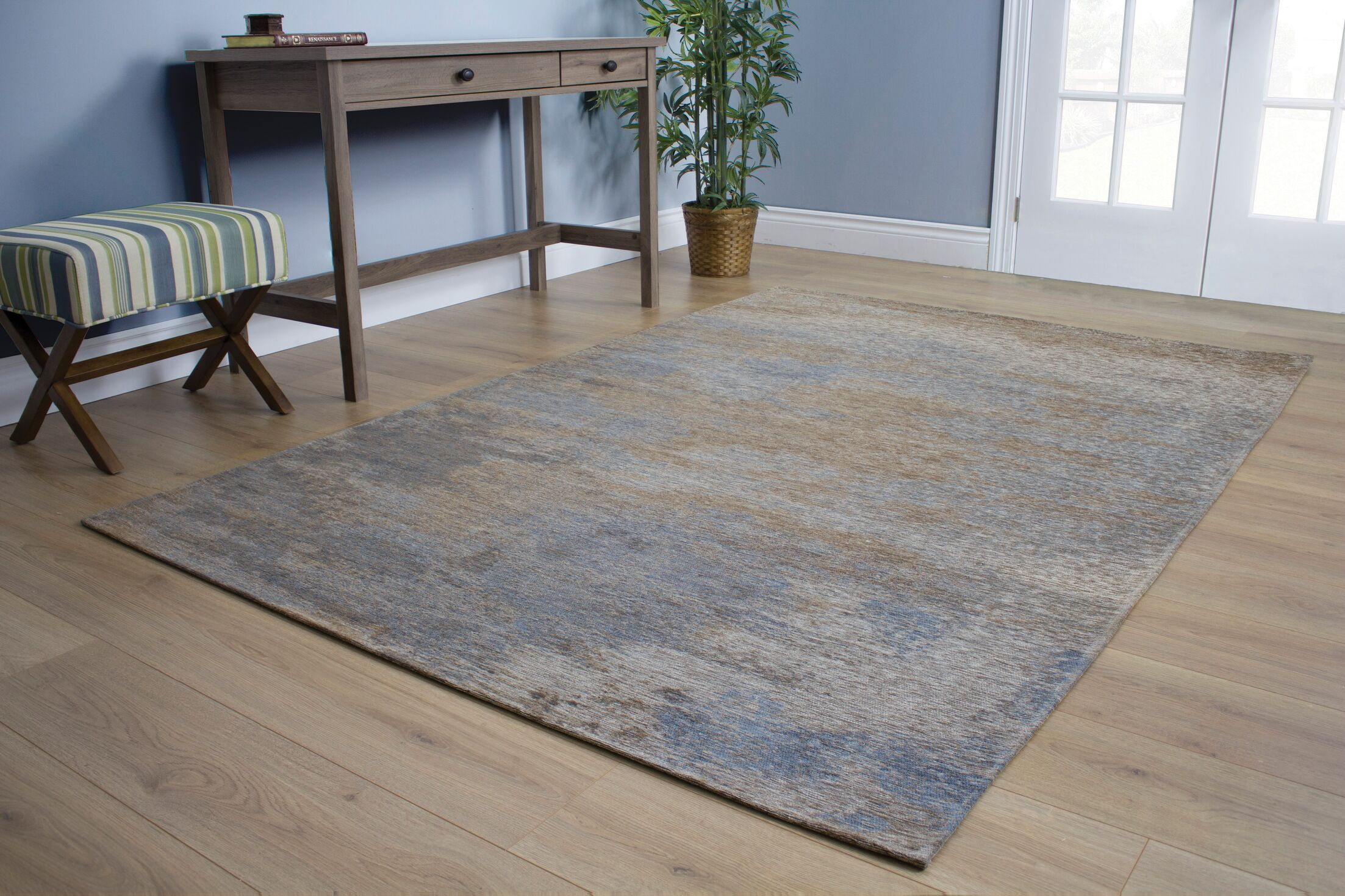 Emory Stormy Weather Blue/Brown Area Rug Rug Size: 5'1