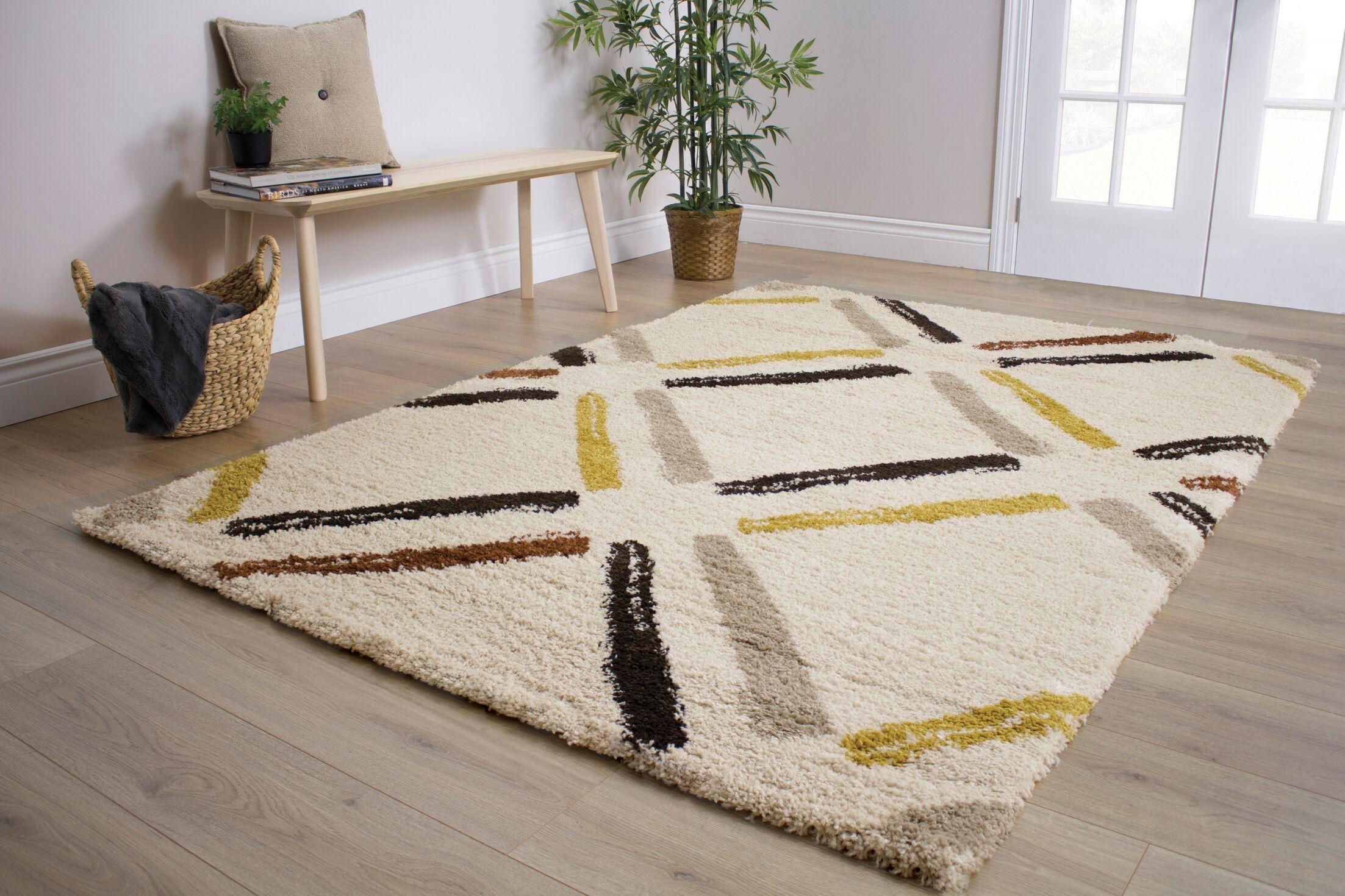 Delgadillo Tiles Soft Touch Cream Area Rug Rug Size: 5'3