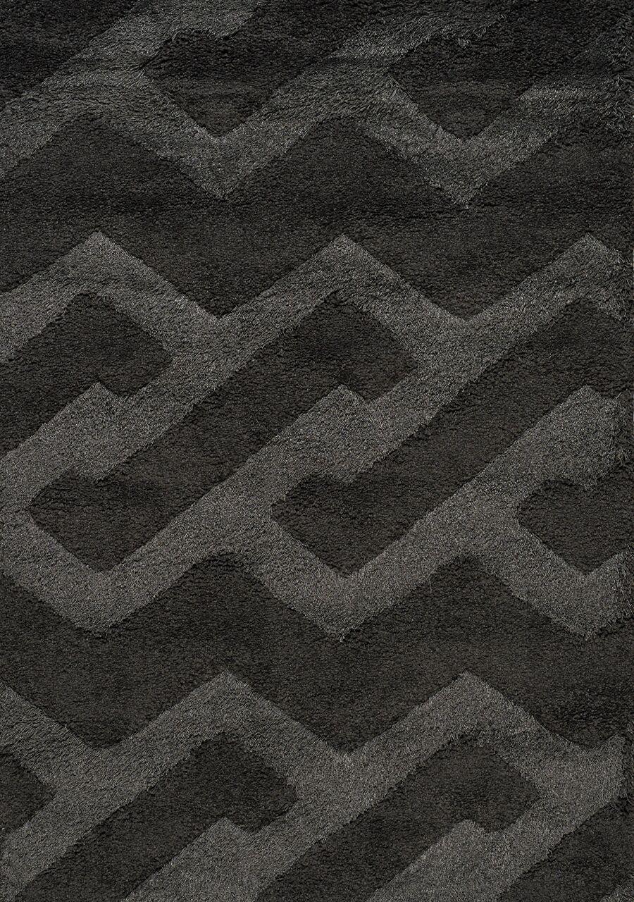 Nataly Maze Luxurious Shag Black Area Rug Rug Size: 5'3
