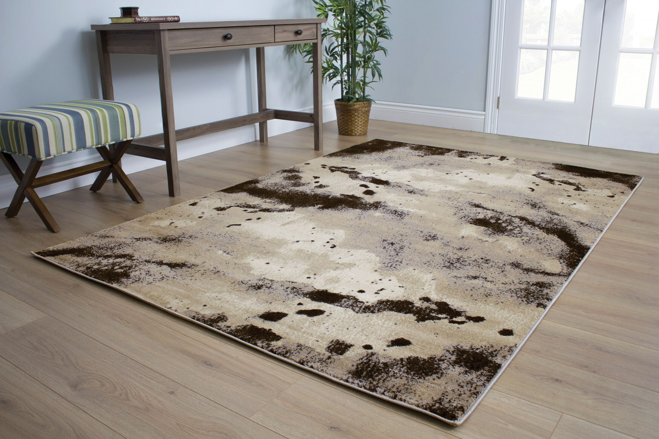 Lachlan Patches Beige Area Rug Rug Size: 7'10
