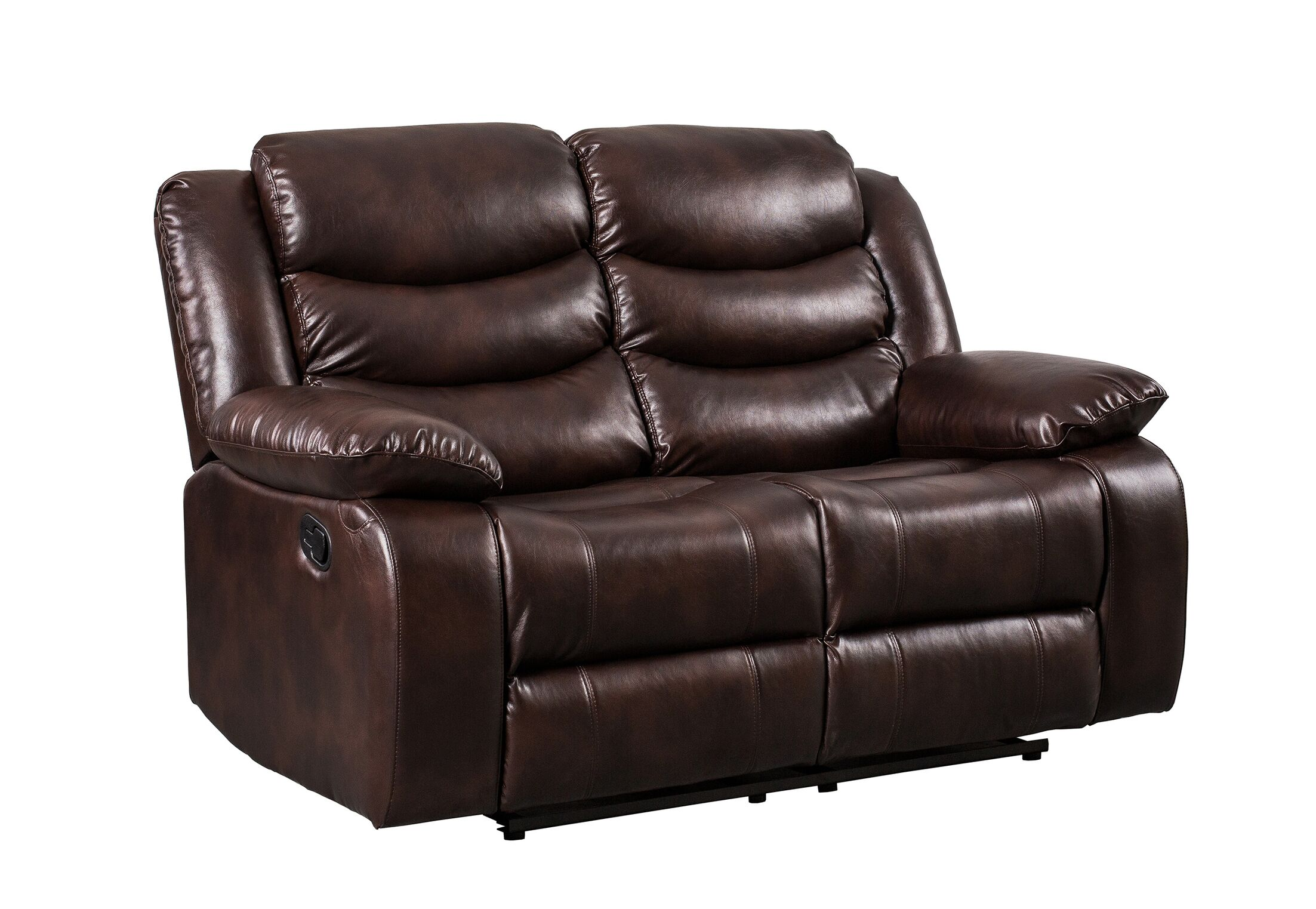 Hiles Reclining Loveseat Upholstered: Brown