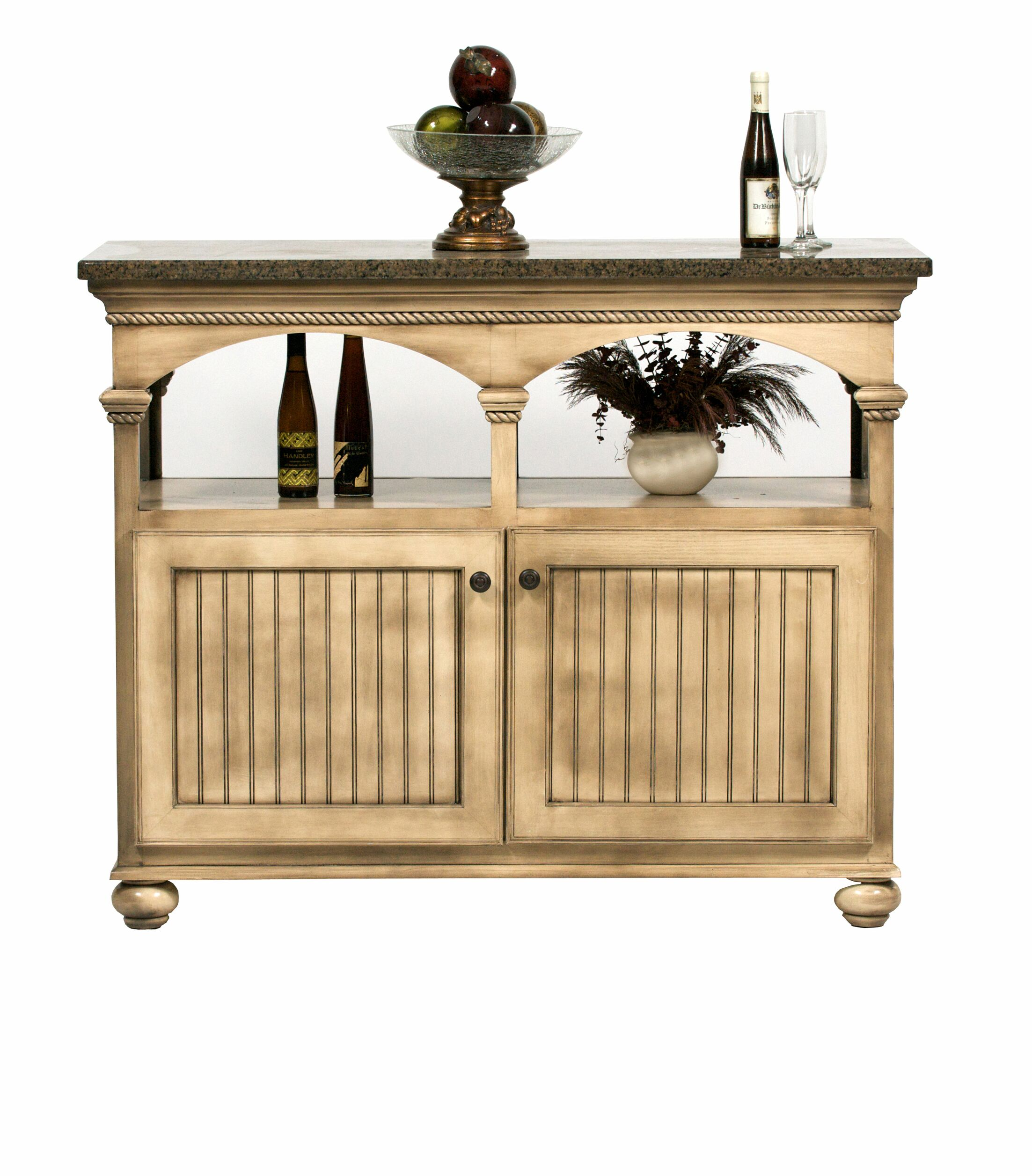American Premiere Kitchen Island with Butcher Block Top Door Type: Wood, Finish: Hazy Sunrise