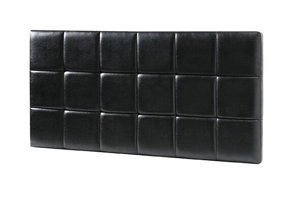 Natalia Padded Upholstered Panel Headboard Size: Twin, Upholstery: Black