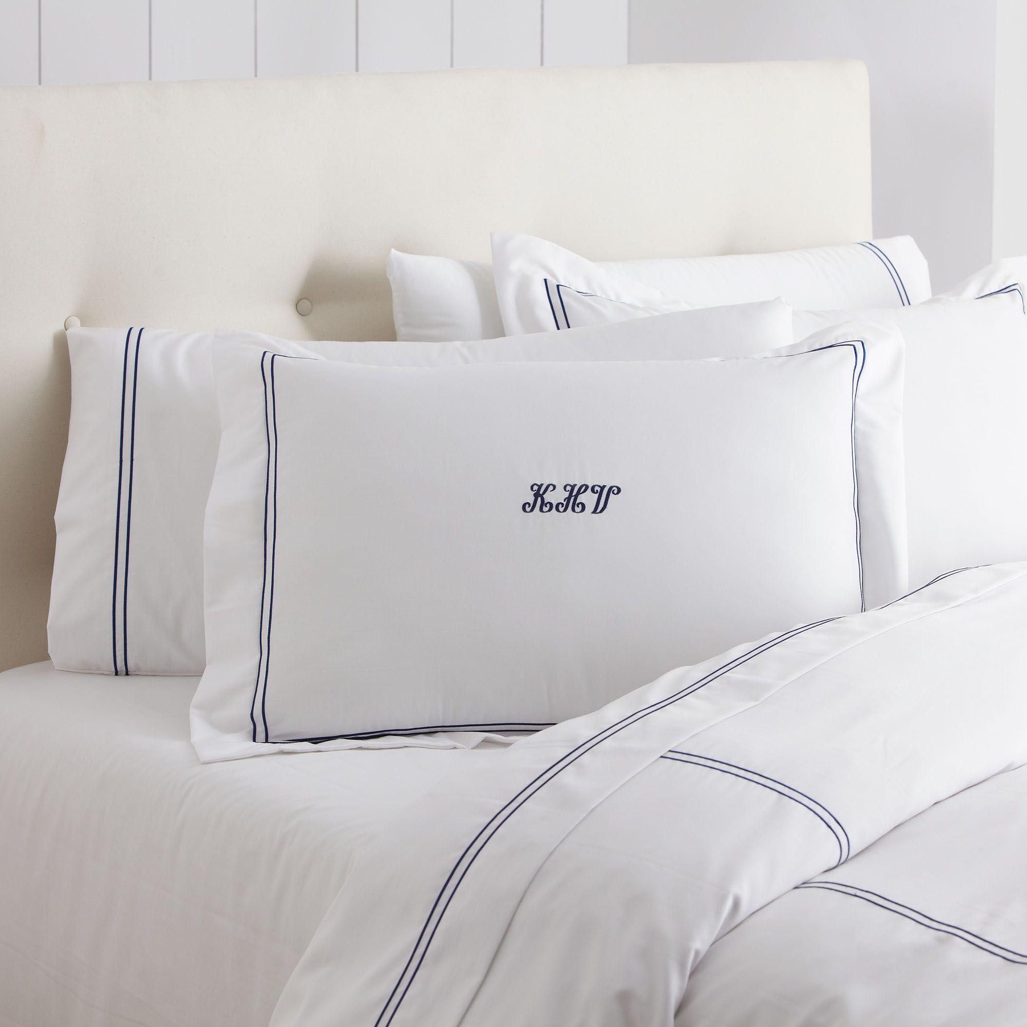 Alexa Sham Color: Navy & White, Size: King
