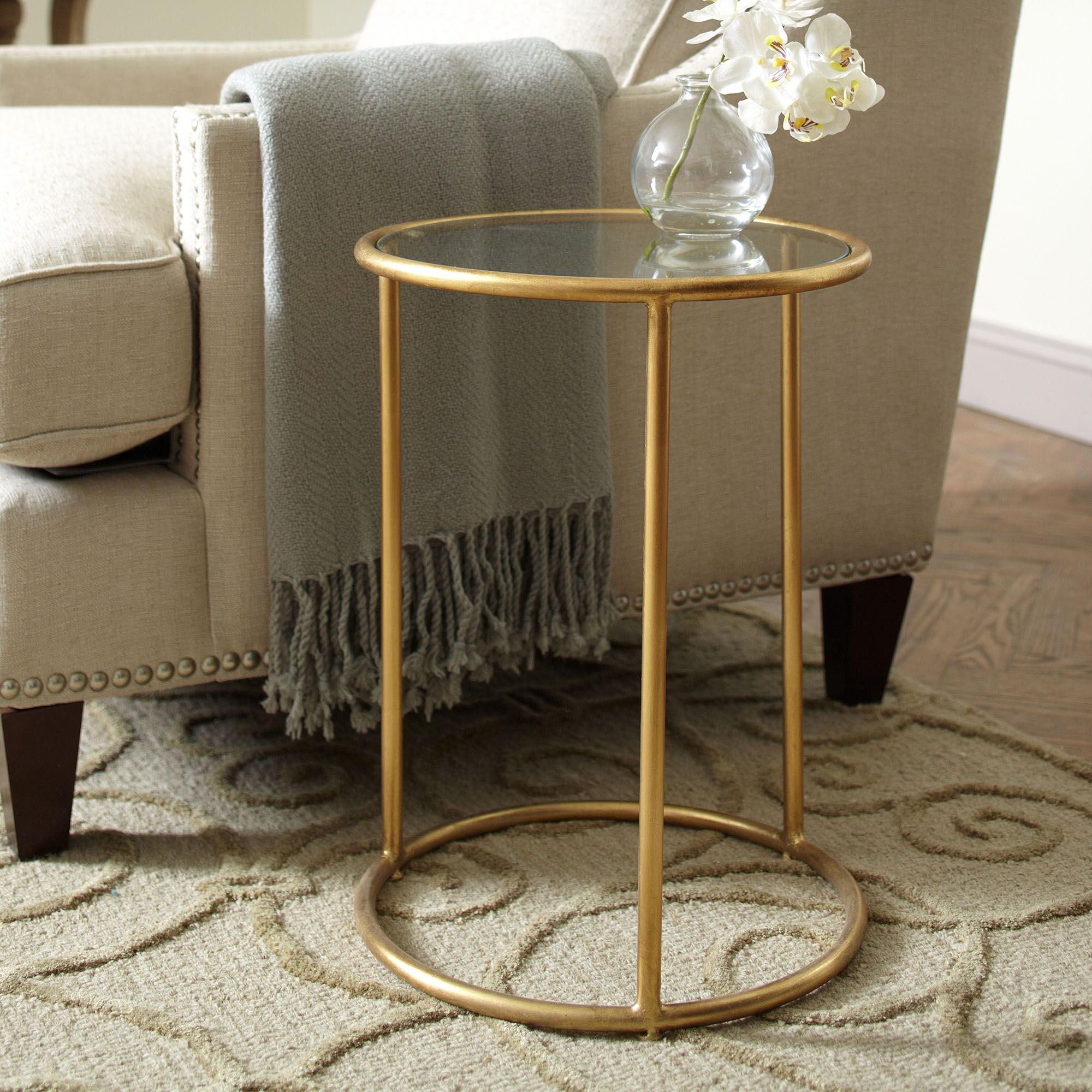 Ellison End Table Base Color: Gold, Top Color: Clear