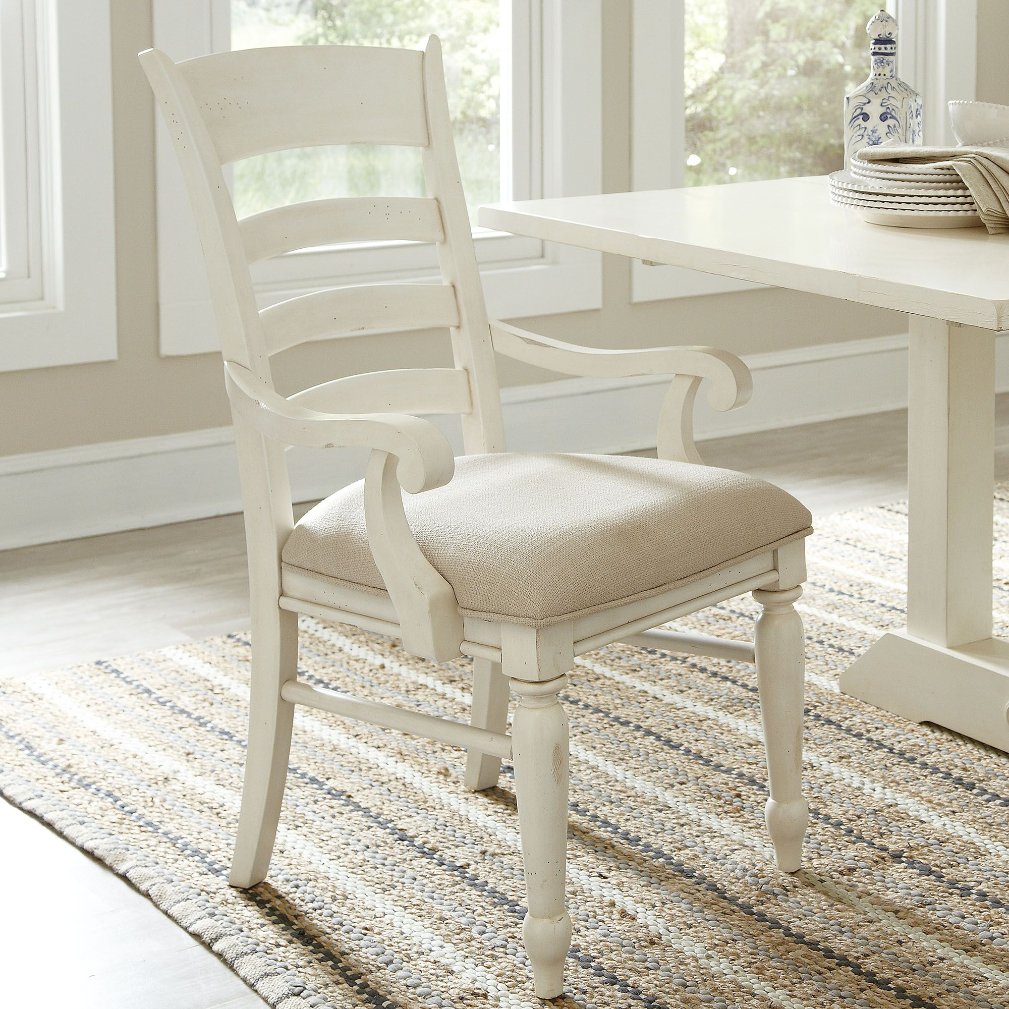 Lisbon Ladder-Back Arm Chairs (Set of 2) Finish: Cream/White