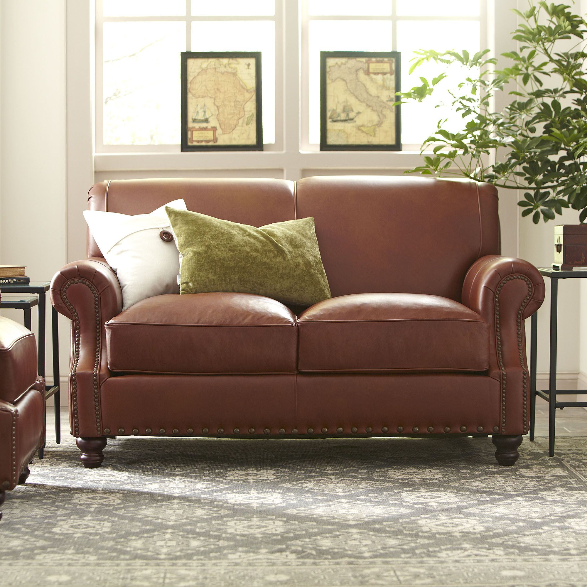 Landry Leather Loveseat Body Fabric: Steamboat Putty, Nailhead Detail: Old Gold