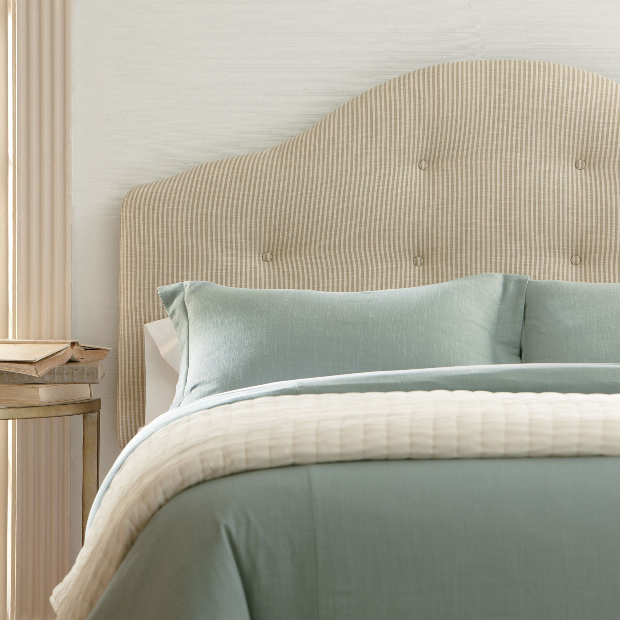 Nolan Upholstered Headboard Size: Queen, Upholstery: Bevin Natural