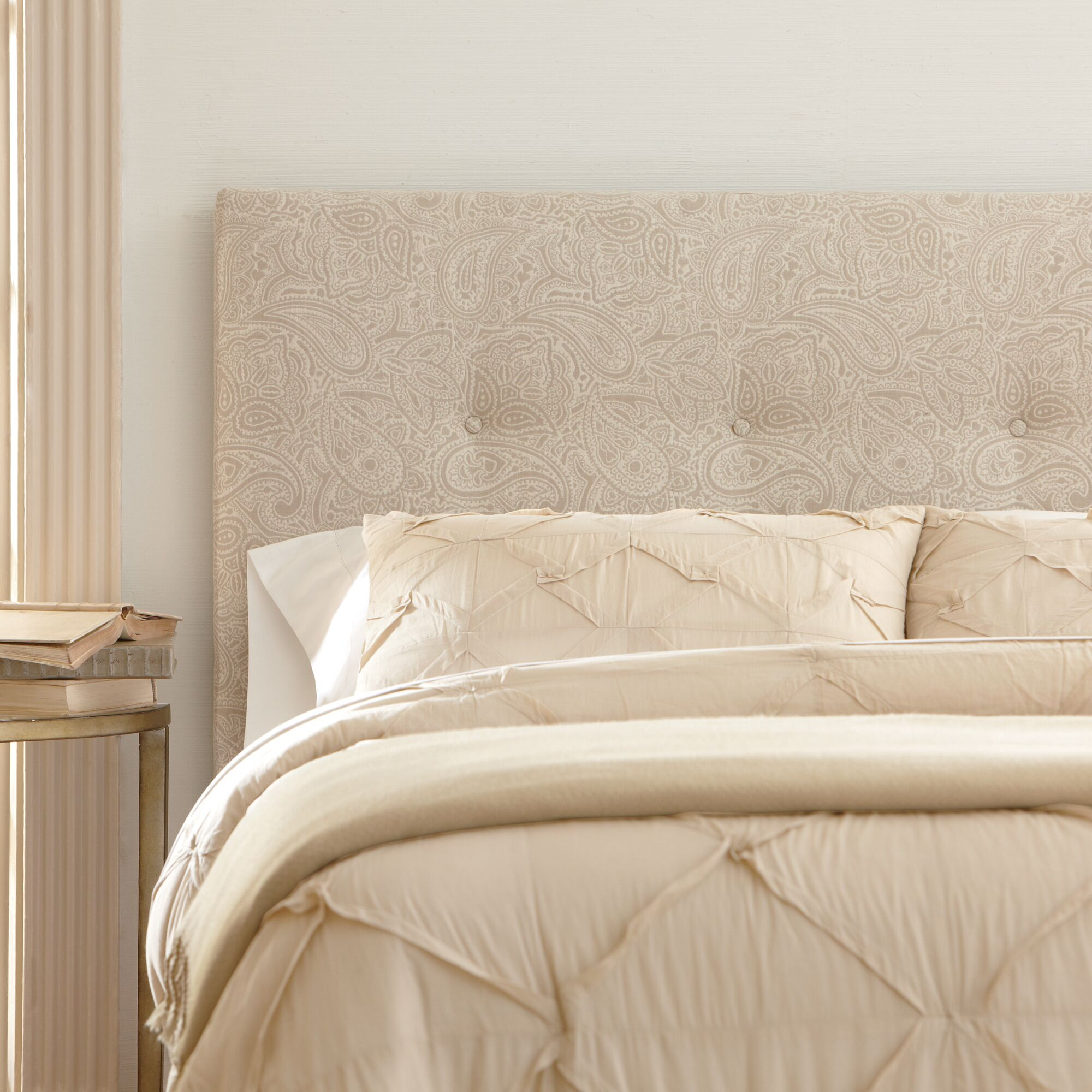 Victor Upholstered Headboard Size: King, Upholstery: Ronan Linen