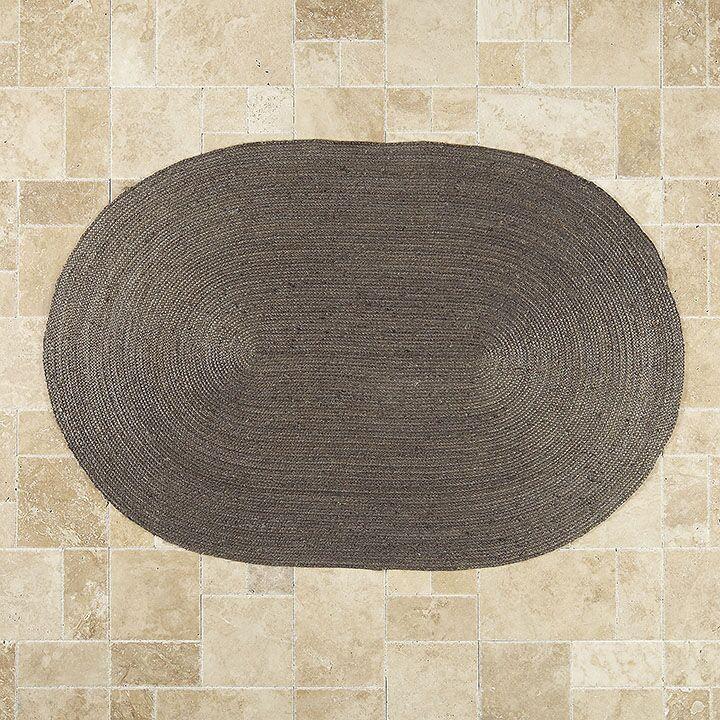 Sarina Hand-Woven Charcoal Gray Area Rug Rug Size: Oval 6' x 9'