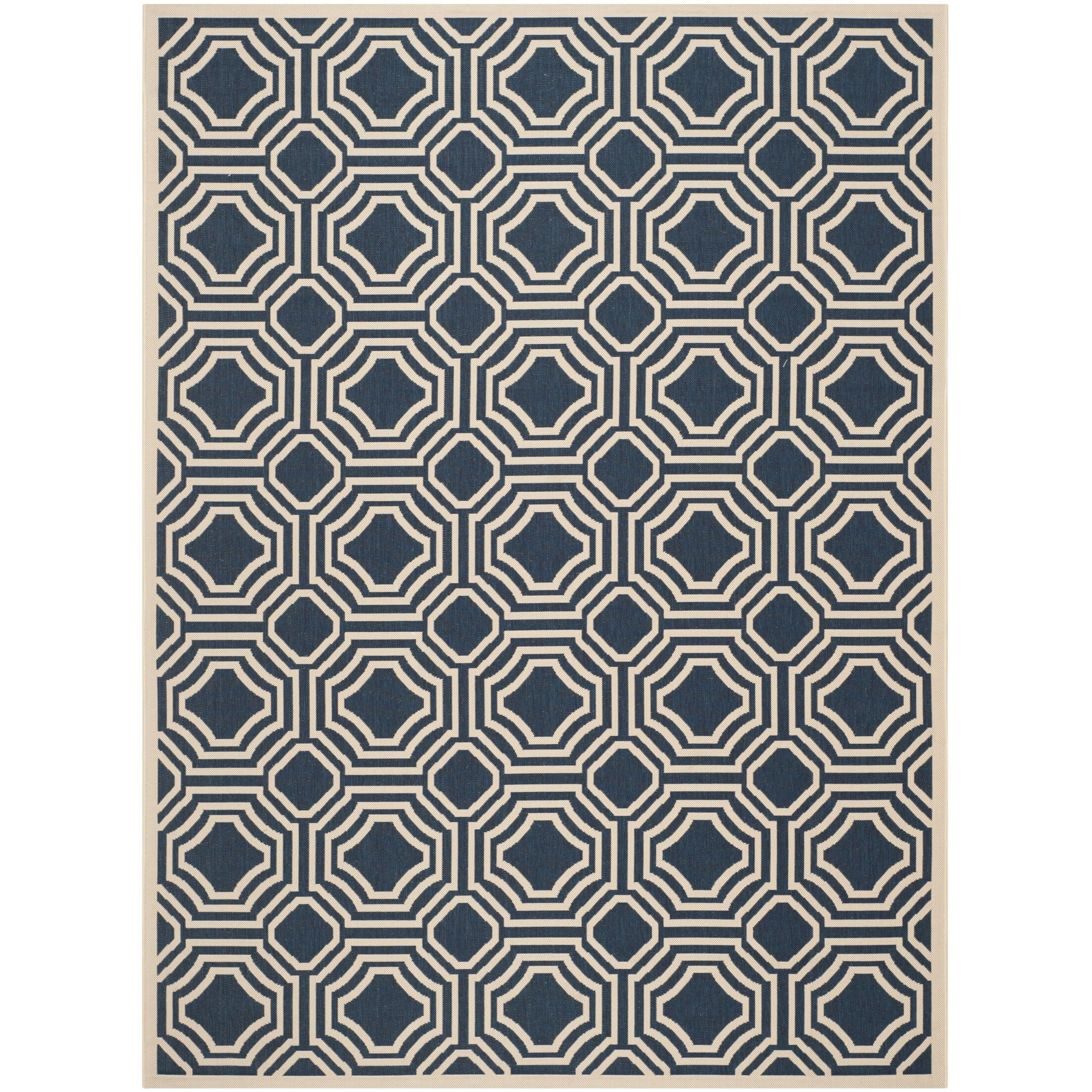 Navy/Beige Indoor/Outdoor Area Rug Rug Size: Rectangle 9' x 12'