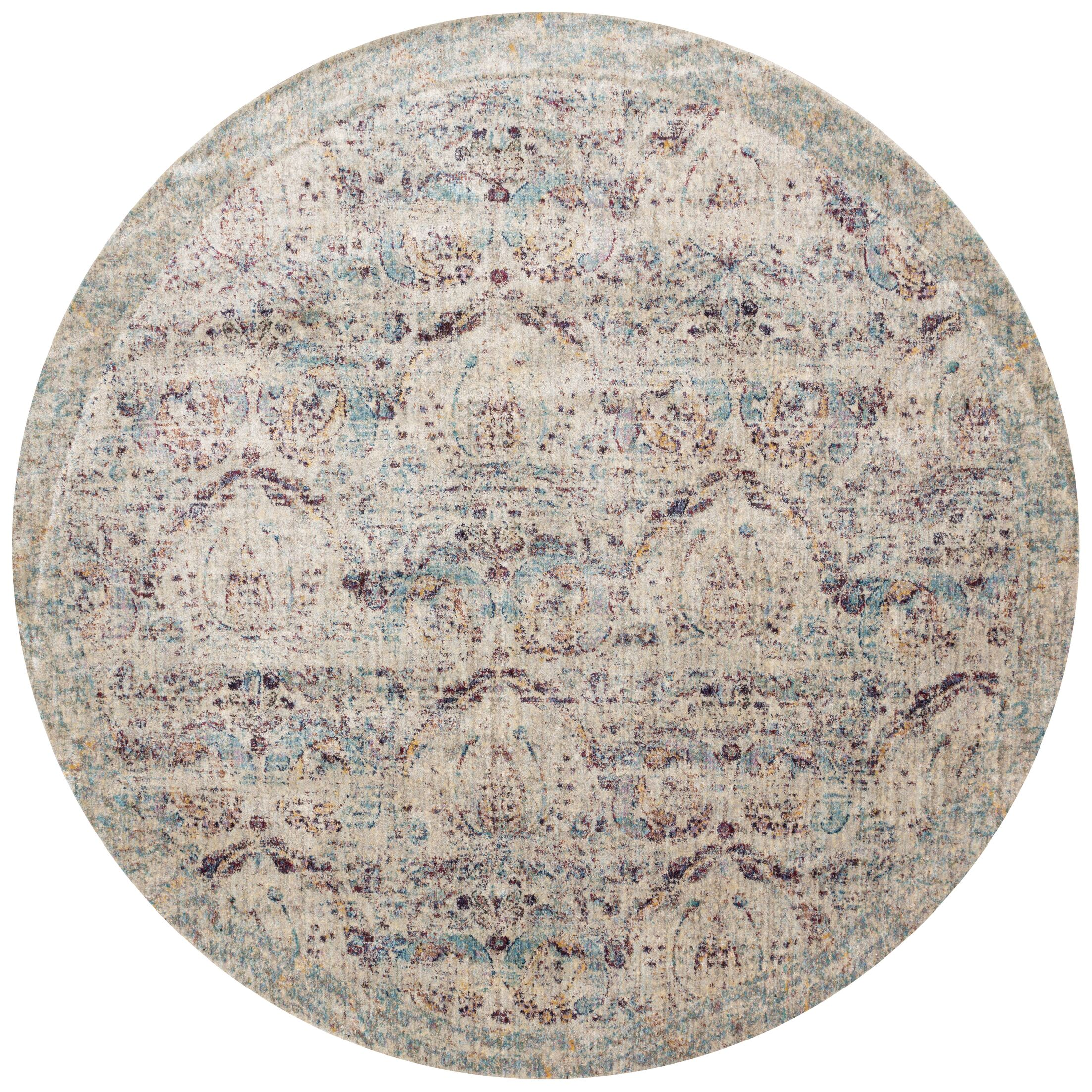 Emile Silver/Plum Area Rug Rug Size: Round 7'10
