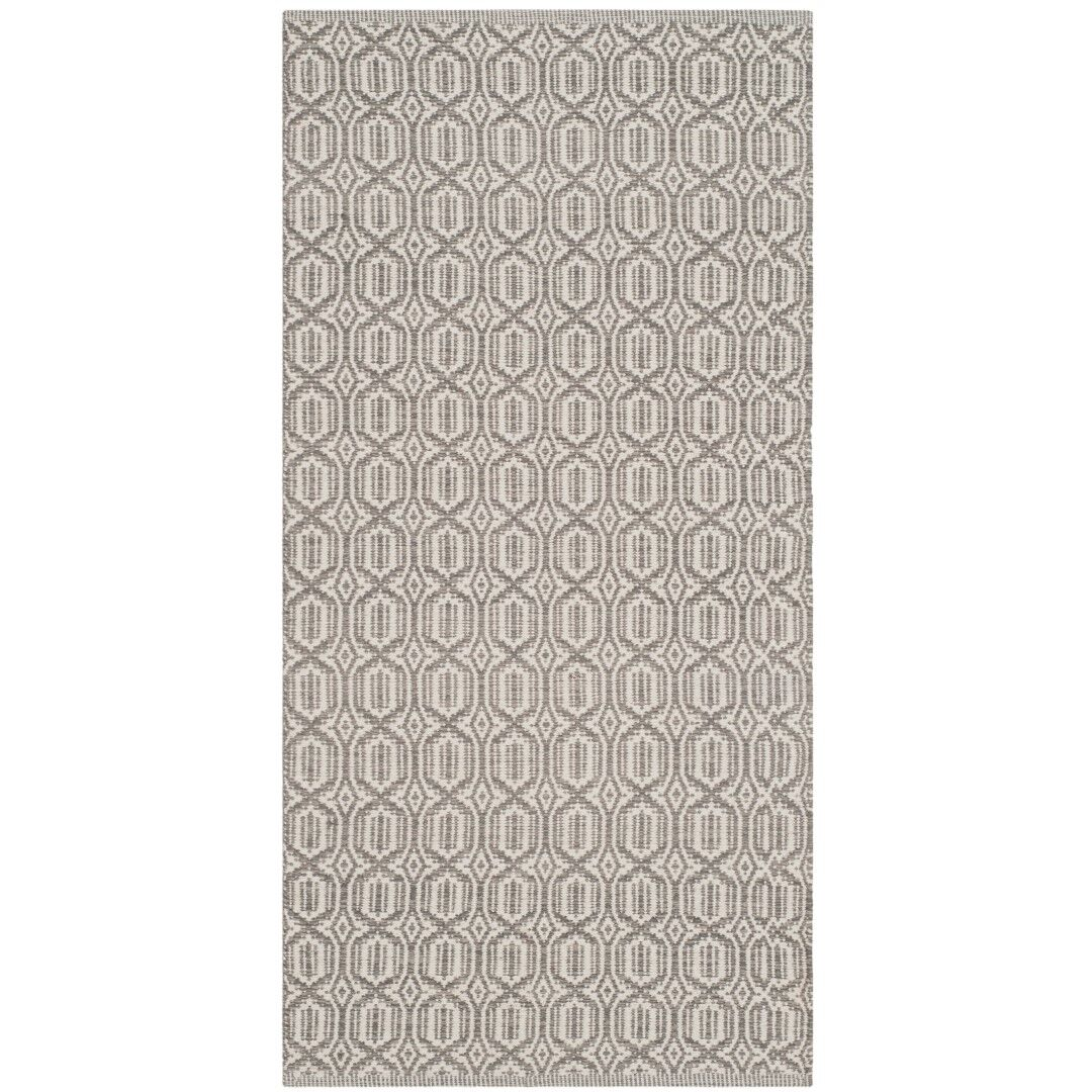 Oxbow Hand-Woven Ivory/Gray Area Rug Rug Size: Square 6'