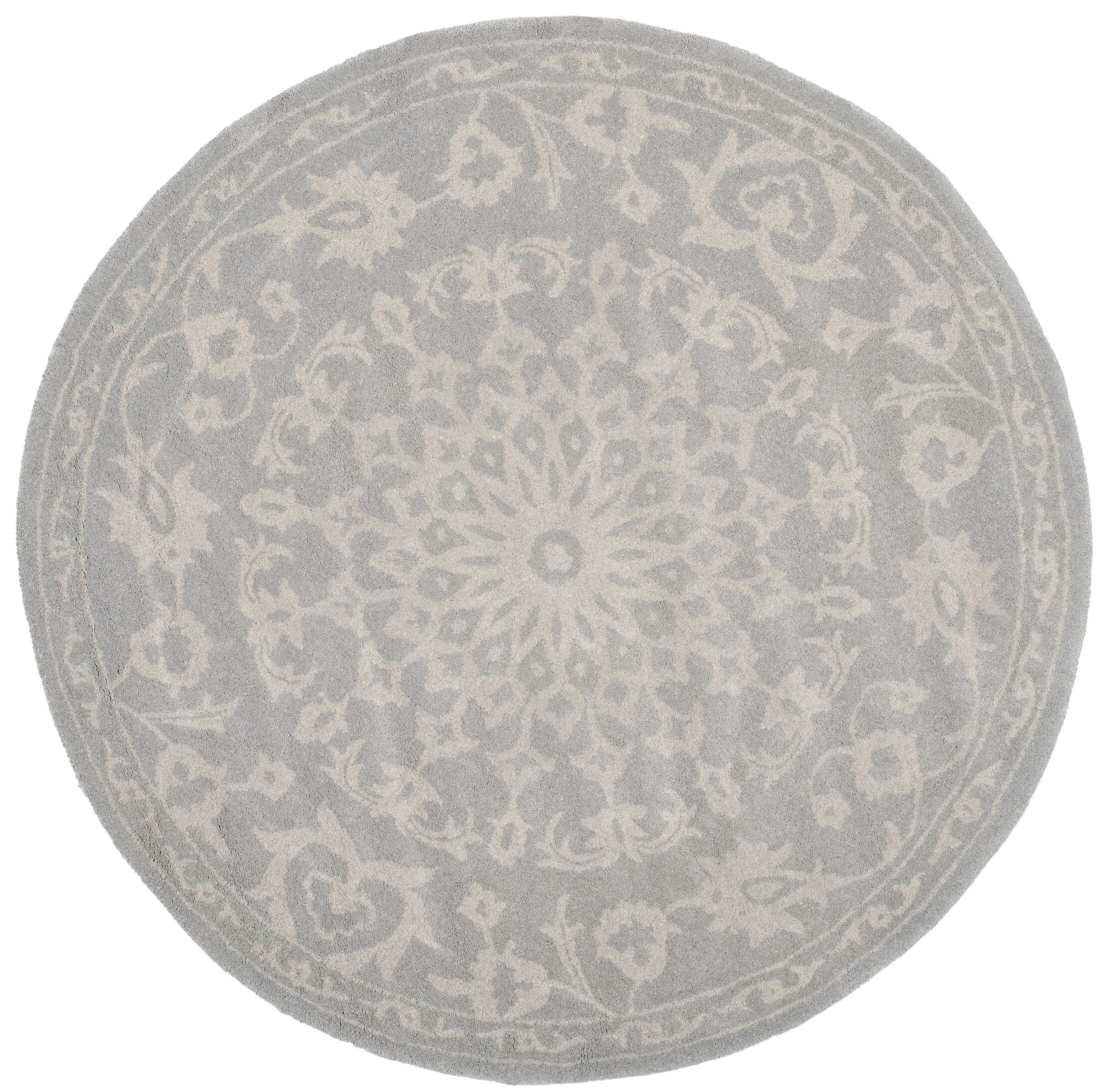 Wool Gray/Silver Area Rug Rug Size: Round 3'