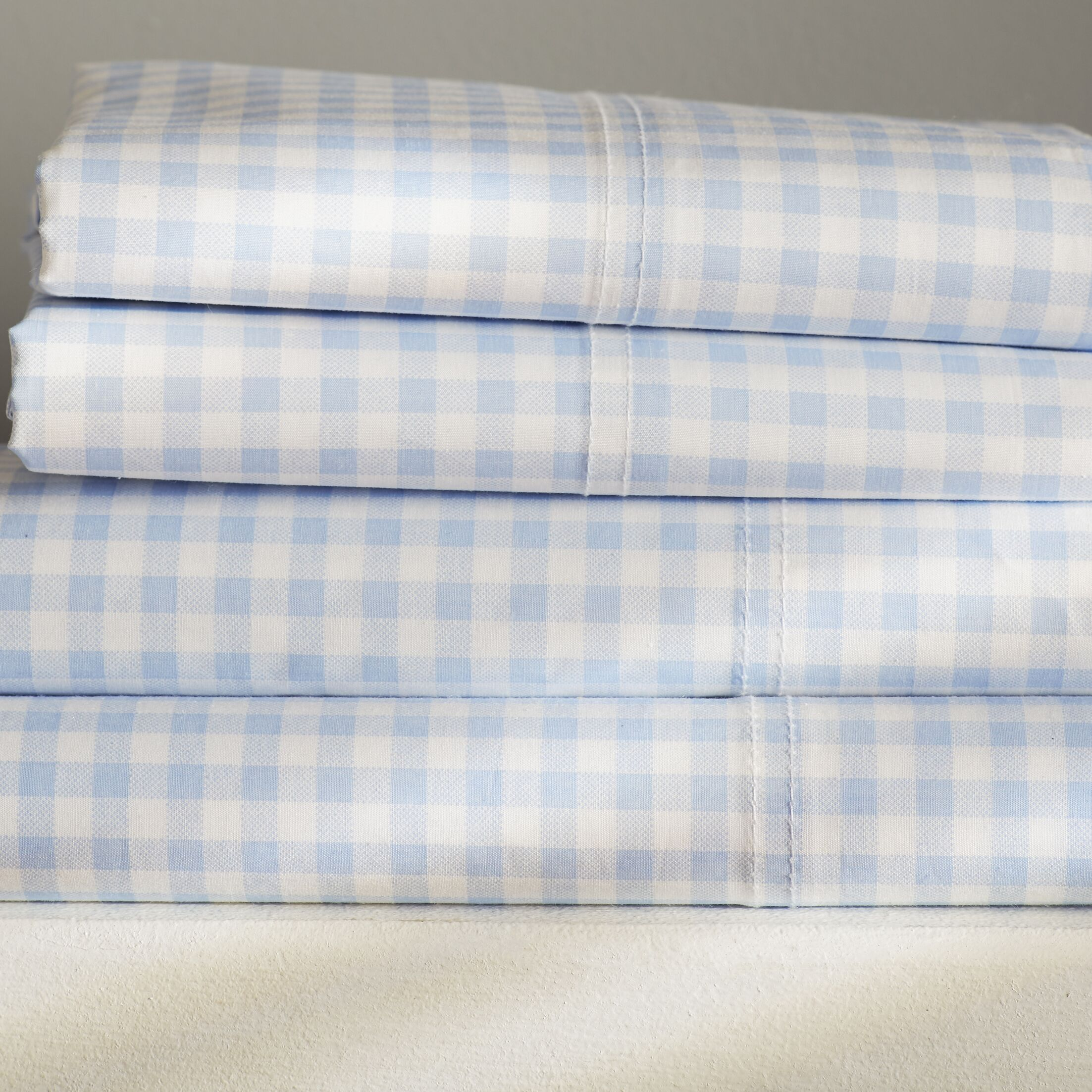 Alberta Gingham 250 Thread Count Sheet Set Size: King, Color: Blue