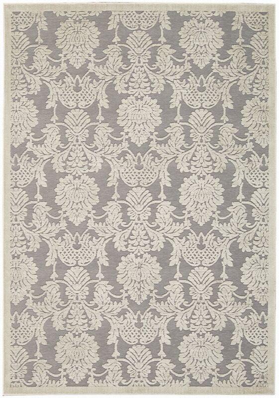 Lisa Ivory/Gray Area Rug Rug Size: Rectangle 7'9