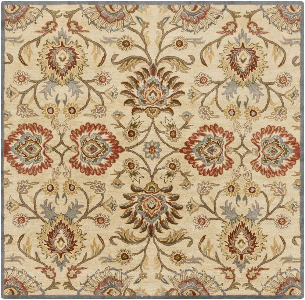 Phoebe Natural & Brick Rug Rug Size: Square 8'