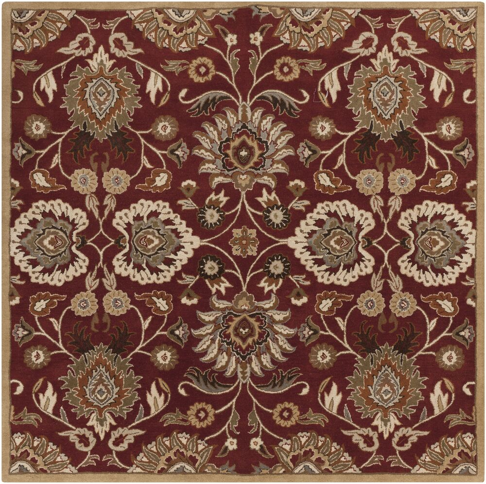 Phoebe Brick Tufted Wool Area Rug Rug Size: Square 8'