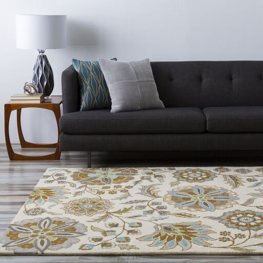 Jasmine Parchment & Moss Tufted Wool Area Rug Rug Size: Oval 8' x 10'