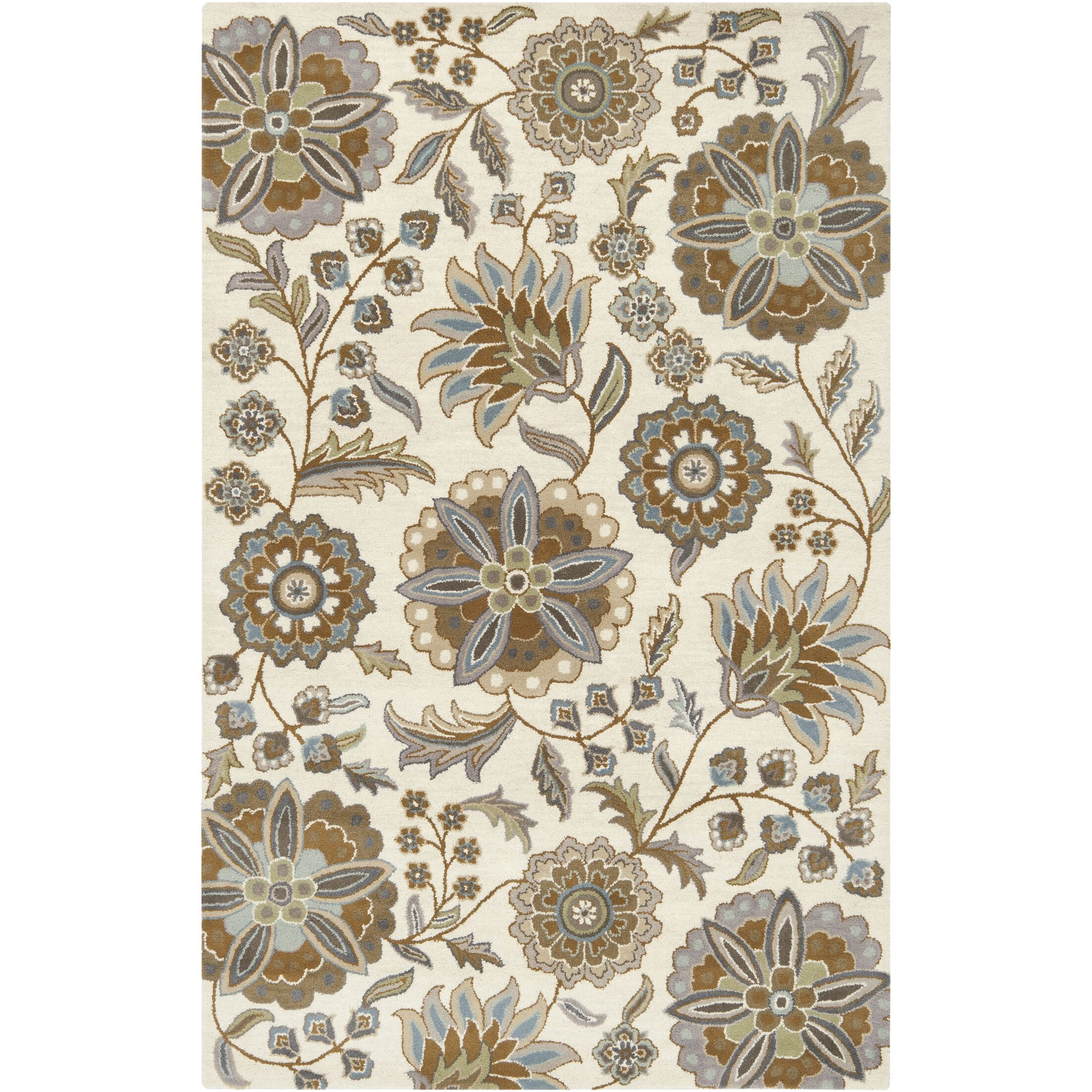 Jasmine Parchment & Moss Tufted Wool Area Rug Rug Size: Rectangle 6' x 9'