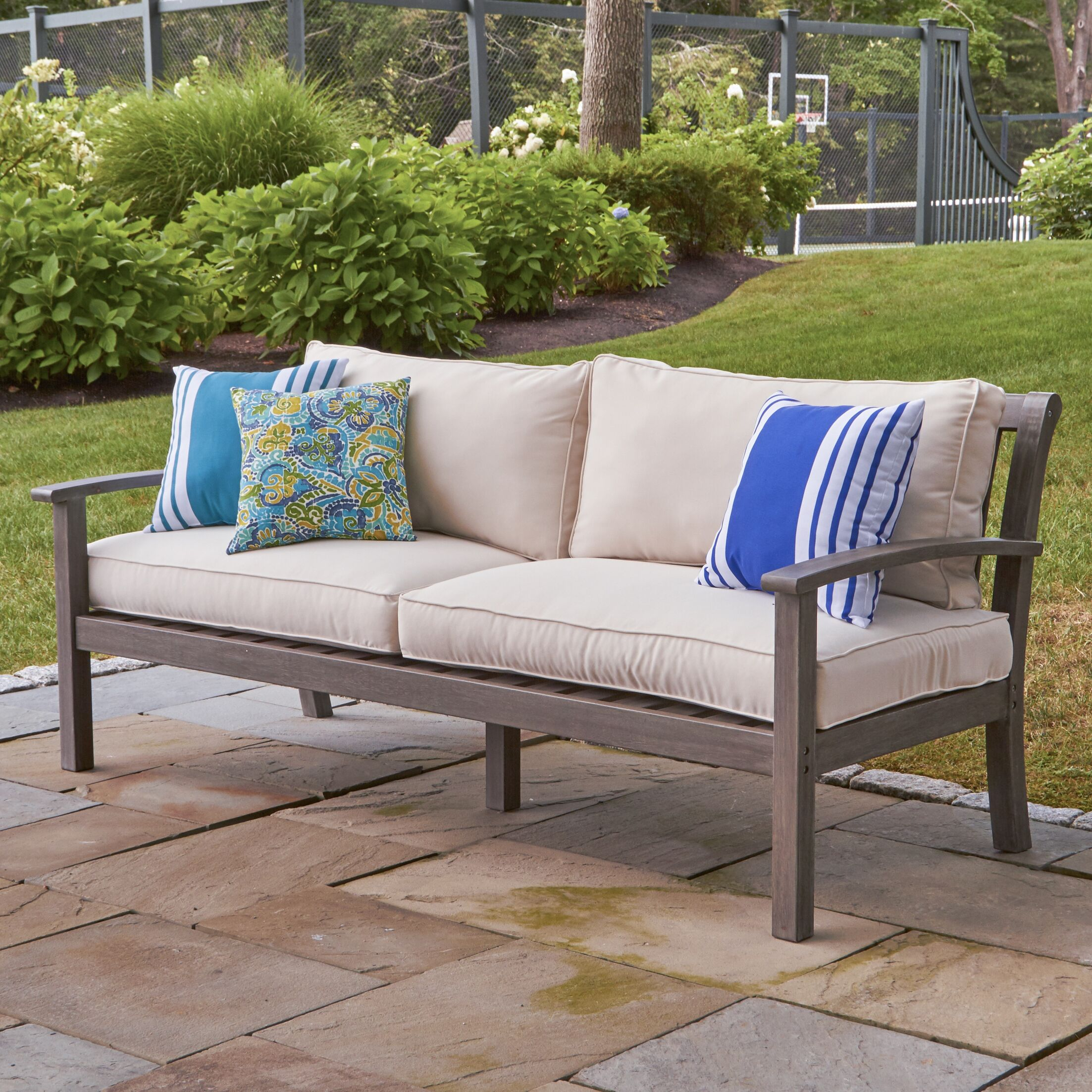 Rossi Patio Sofa with Cushions Fabric: White