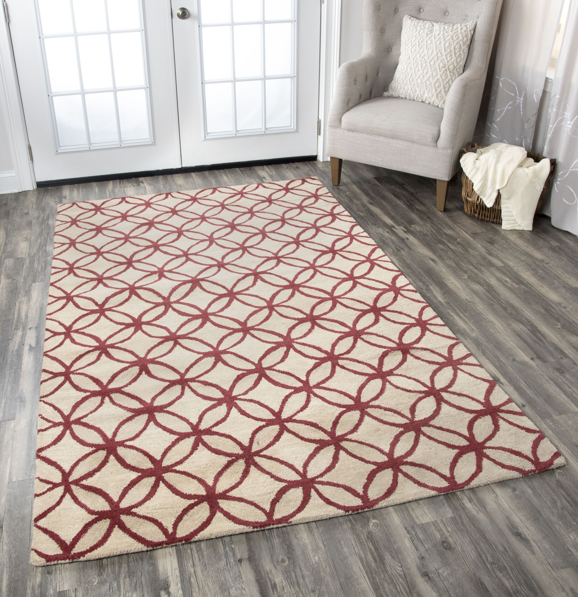 Kenzie Natural & Brick Rug Rug Size: Rectangle 8' x 10'