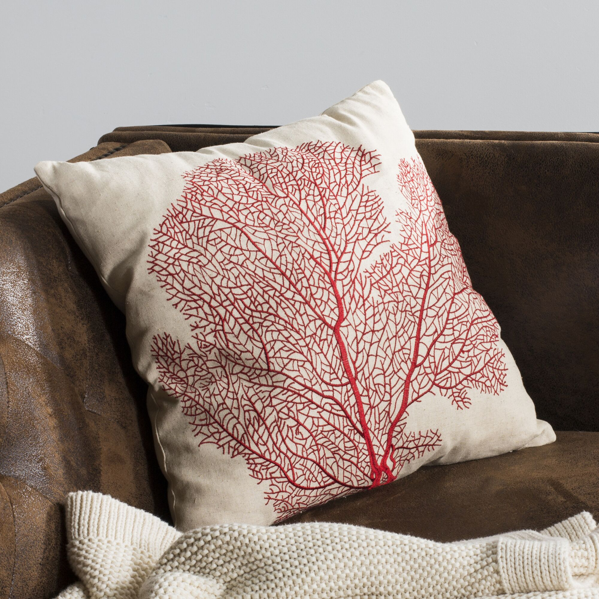 Coral Escape Throw Pillow Color: Candy Red
