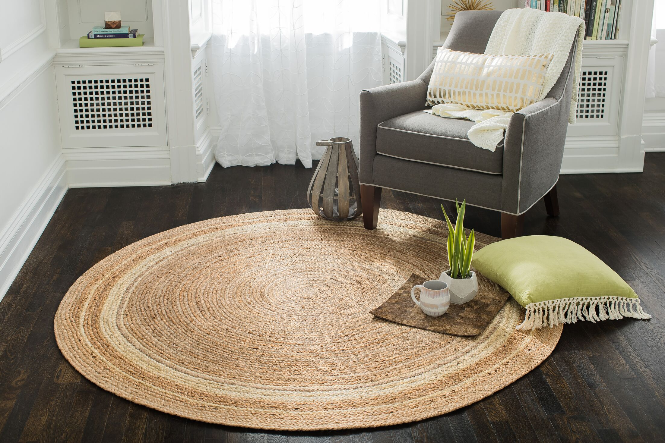 Cordell Ivory-Striped Jute Tan Area Rug Rug Size: Round 4'