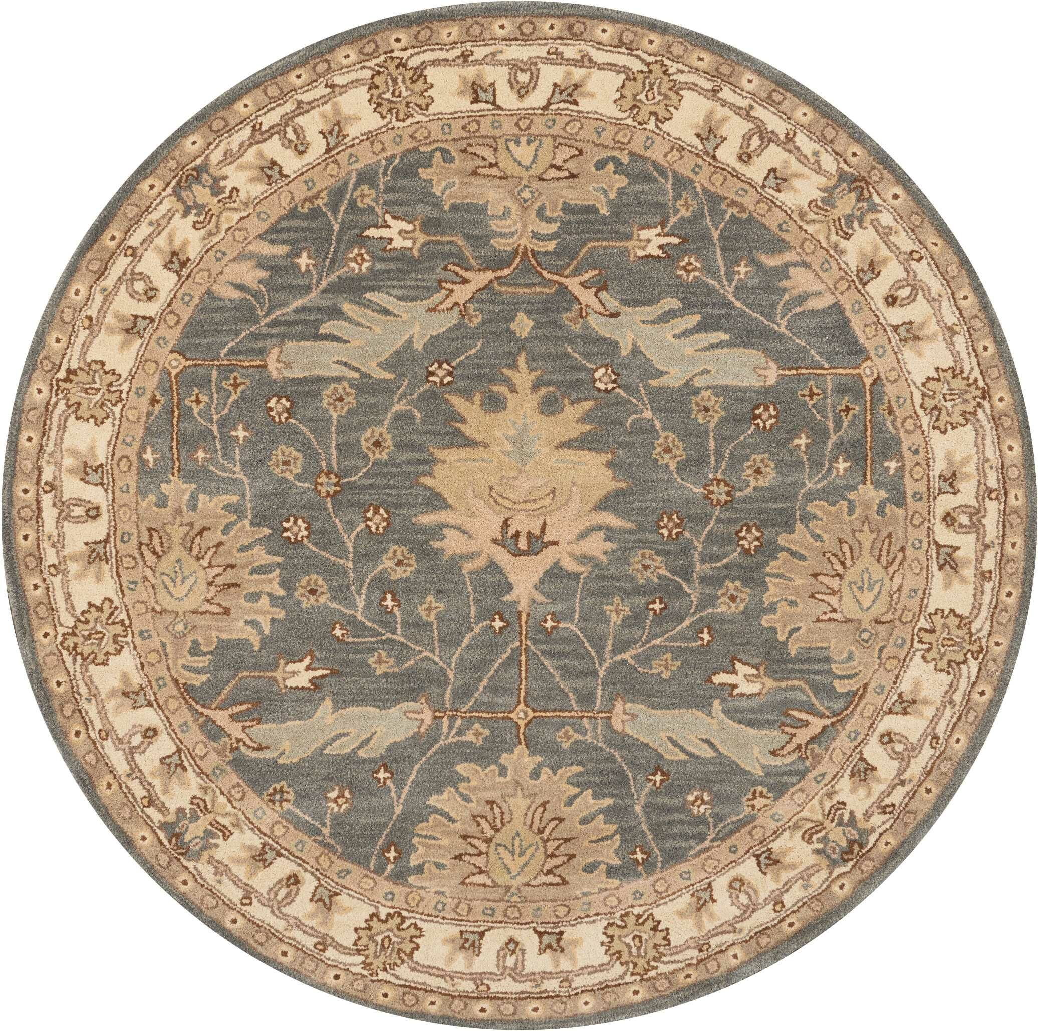 Constance Hand-Tufted Wool Blue Area Rug Rug Size: Round 6'