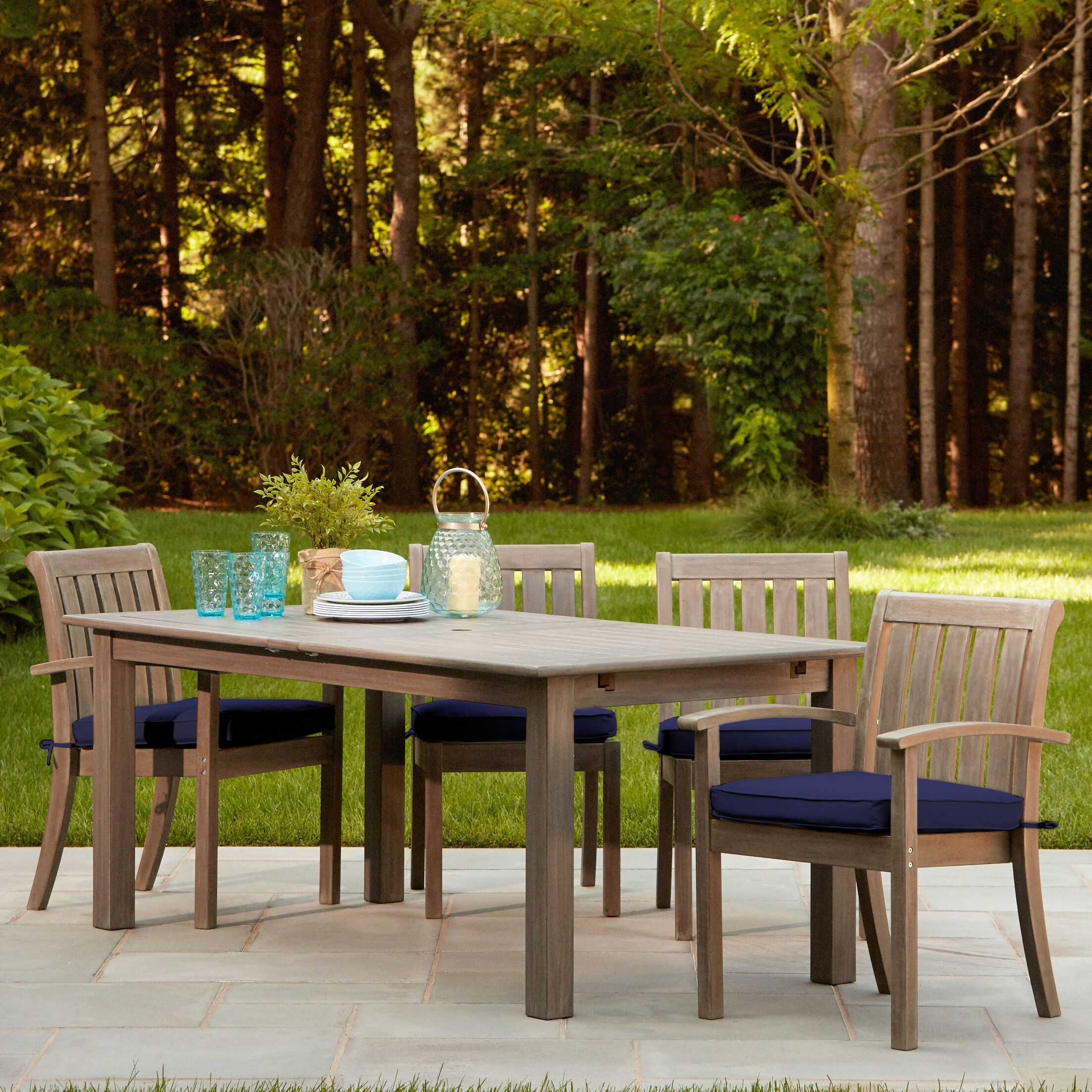 Rossi 7-Piece Dining Set with Cushions Cushion Color: Navy