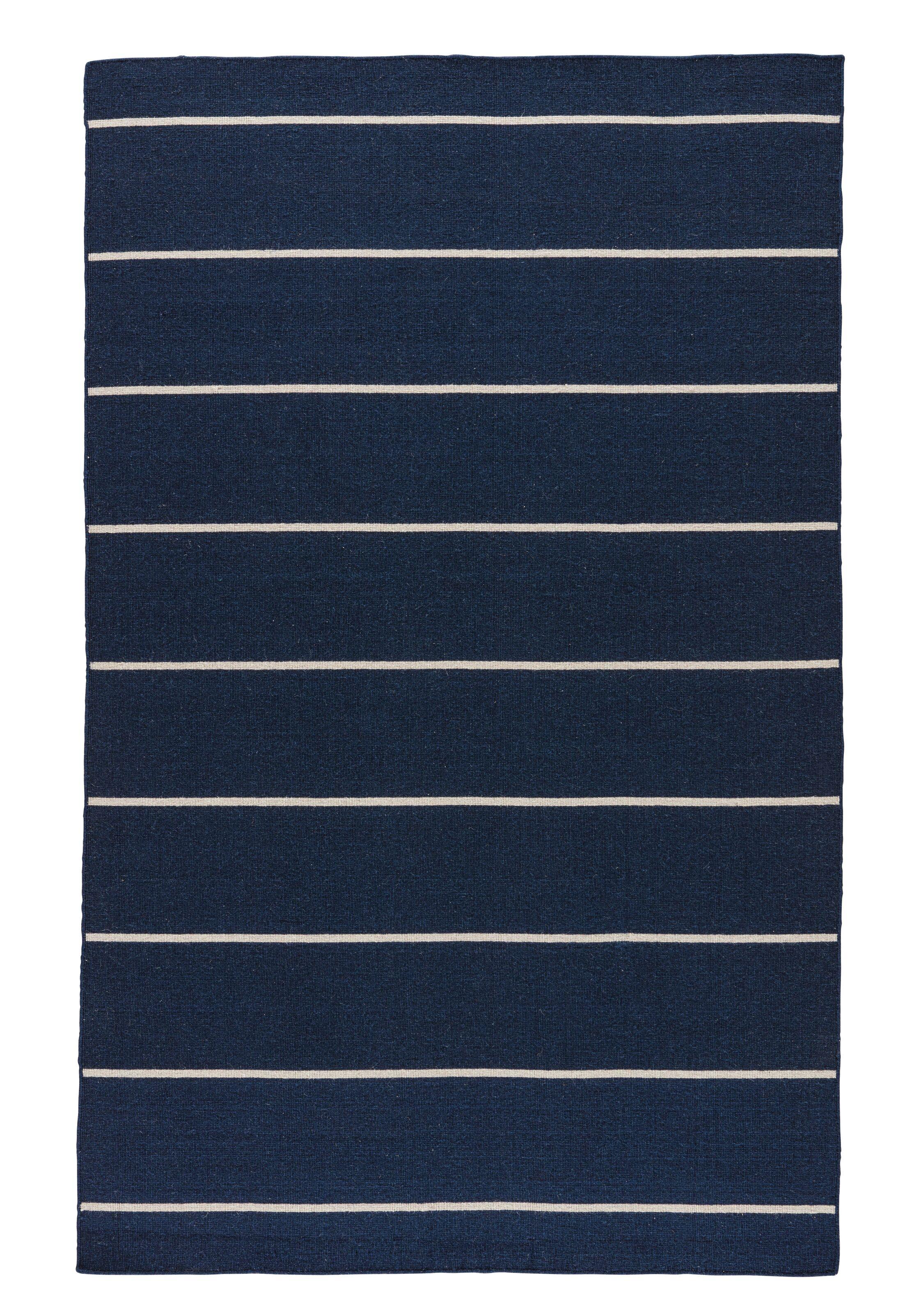 Rogan Flat-Woven Wool Blue/Ivory Area Rug Rug Size: Rectangle 8' x 10'