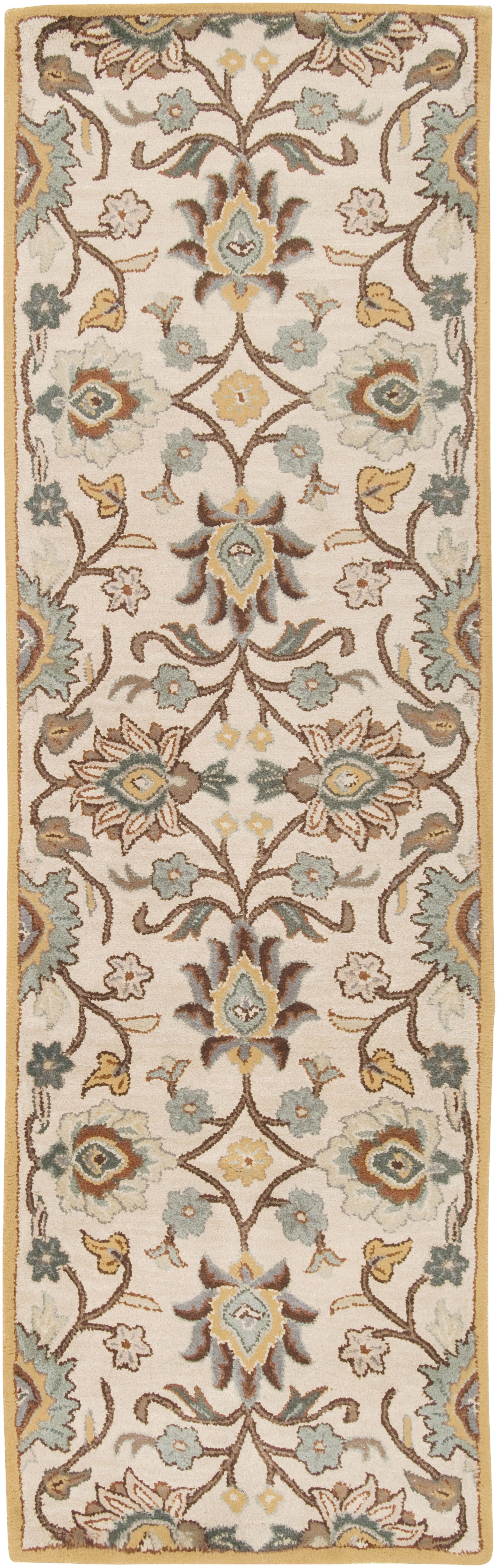 Phoebe Parchment & Teal Rug Rug Size: Runner 3' x 12'