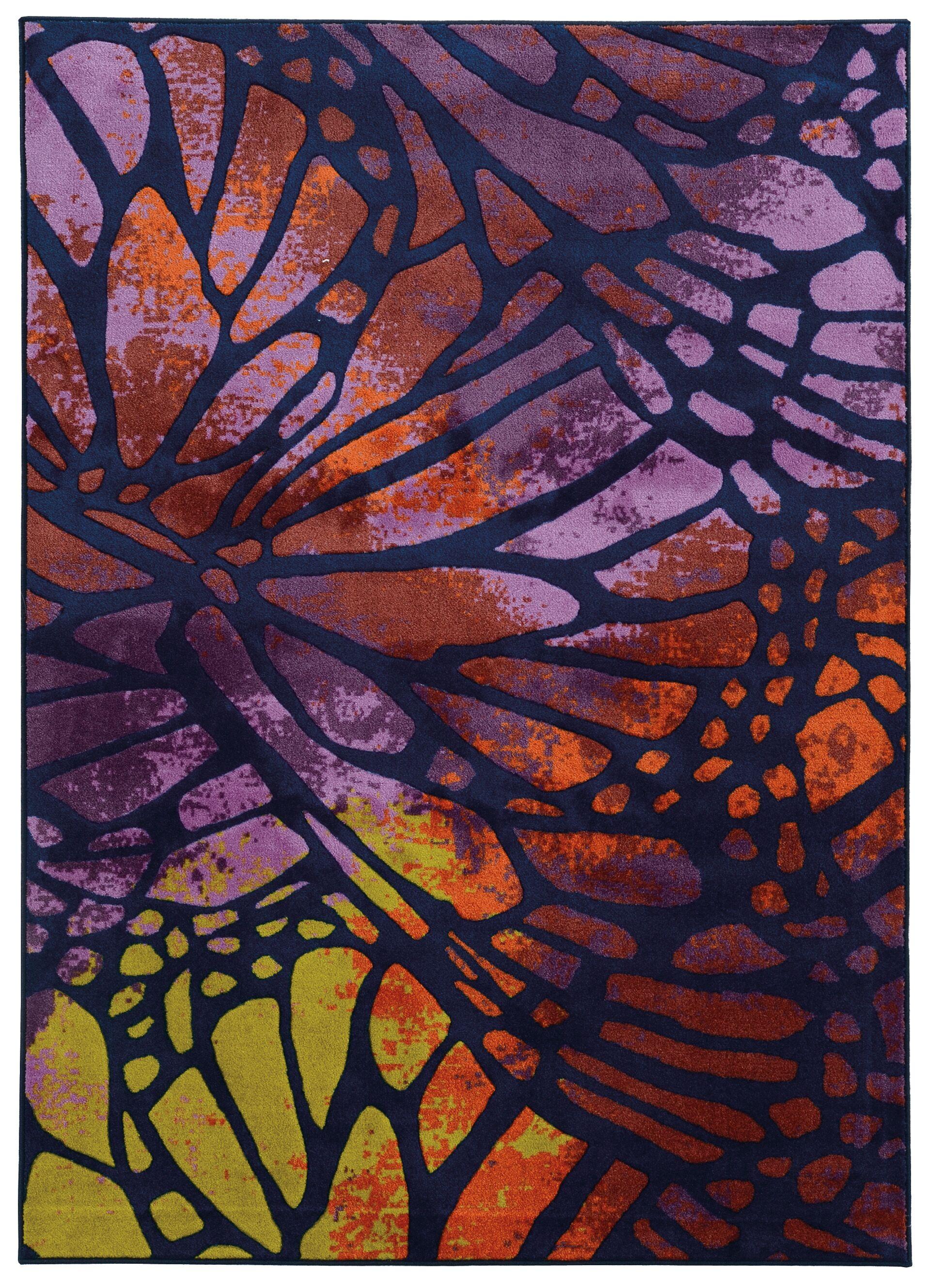 Prismatic Abstract Purple/Orange Area Rug Rug Size: Rectangle 3'5