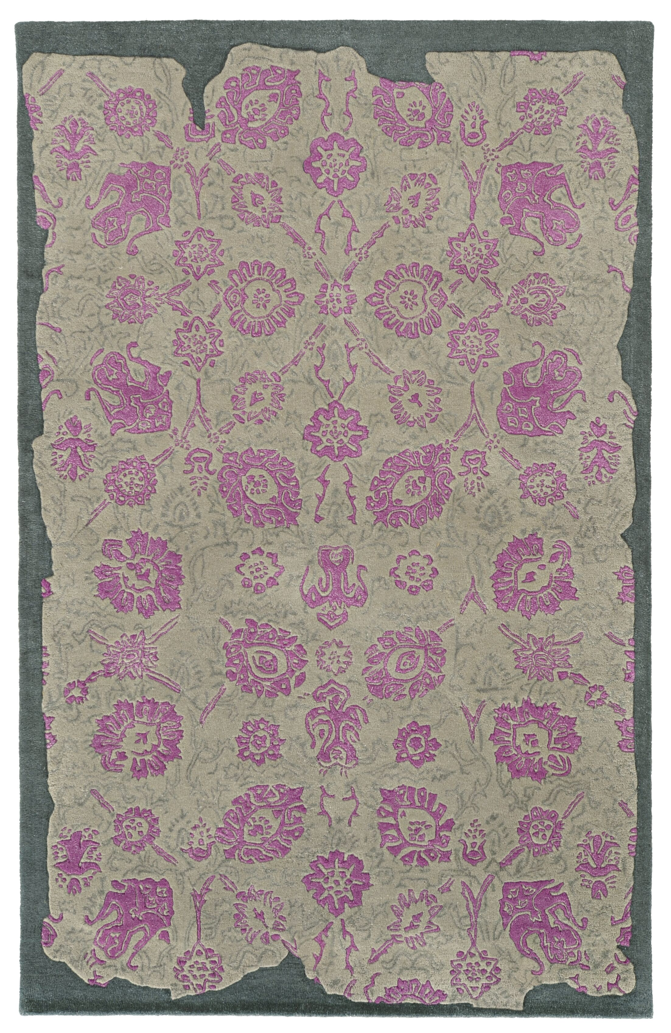 Color Influence Distressed Look Grey / Pink Area Rug Rug Size: Runner 2'6