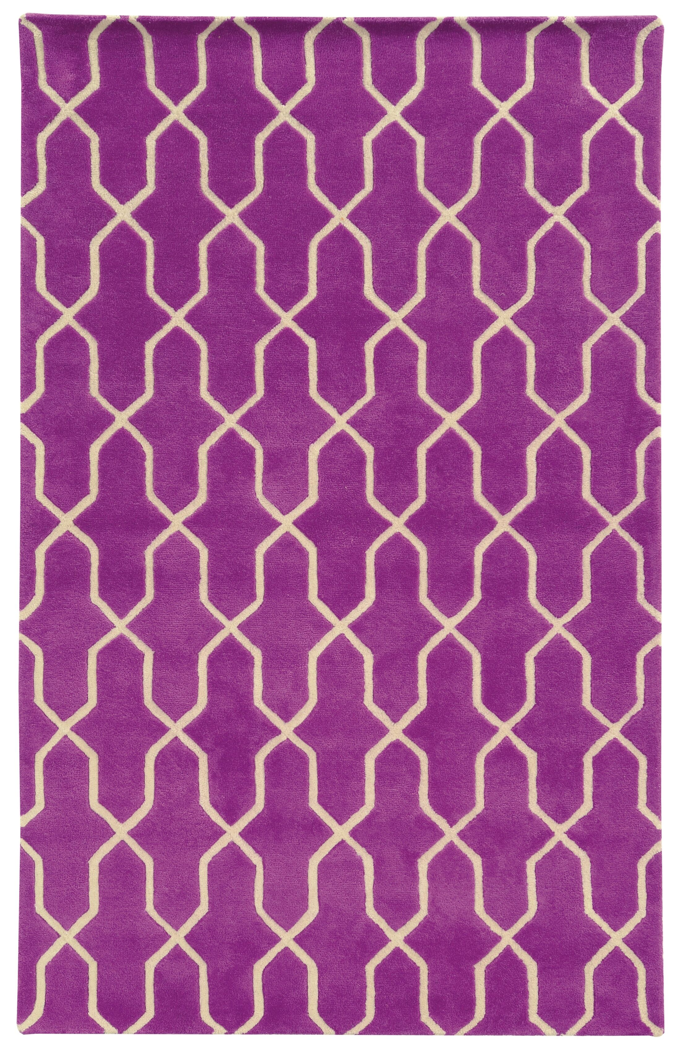 Optic Geometric Purple & Ivory Area Rug Rug Size: Rectangle 3'6