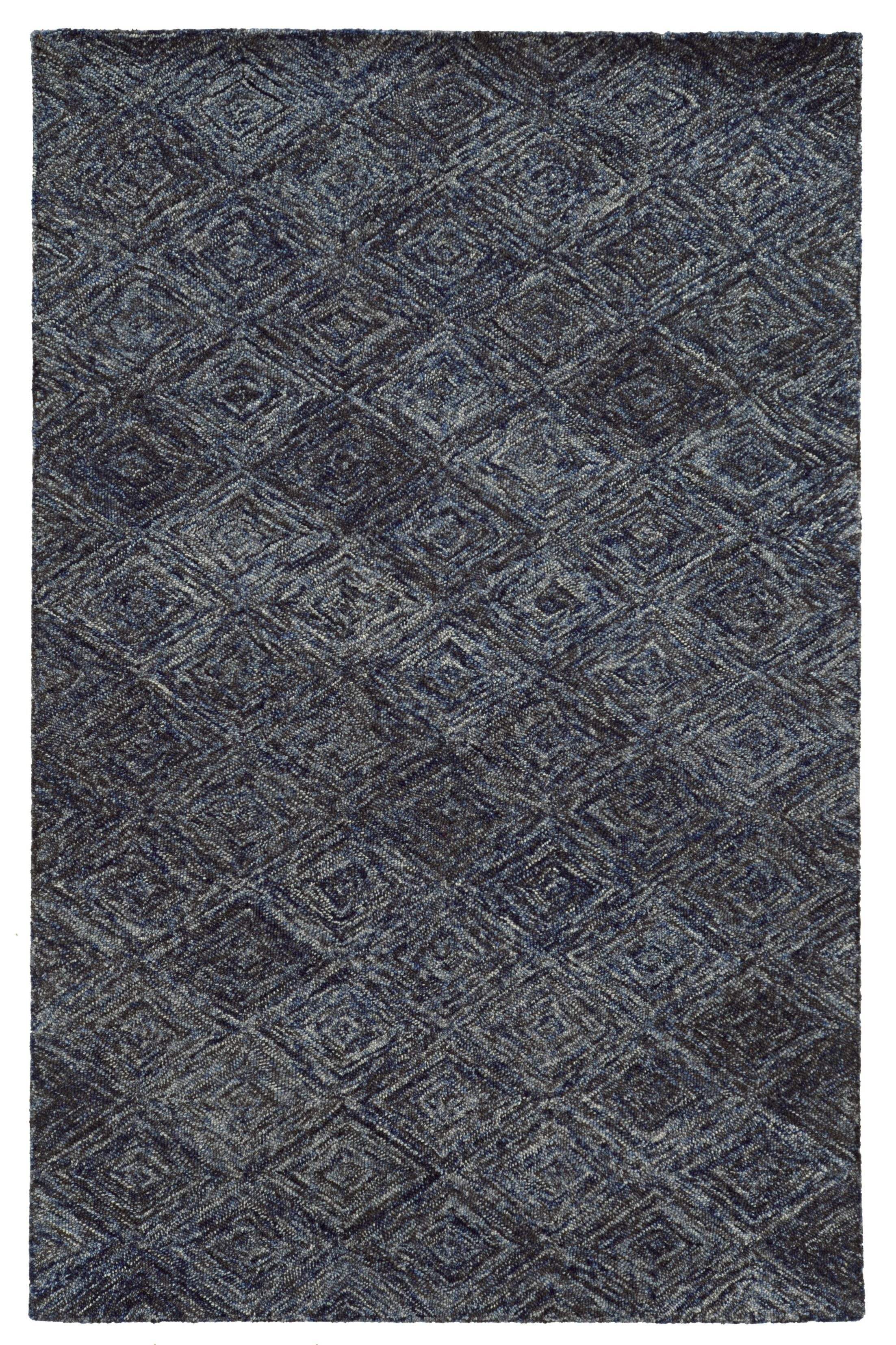 Colorscape Hand-Tufted Geometric Blue/Grey Area Rug Rug Size: Runner 2'6