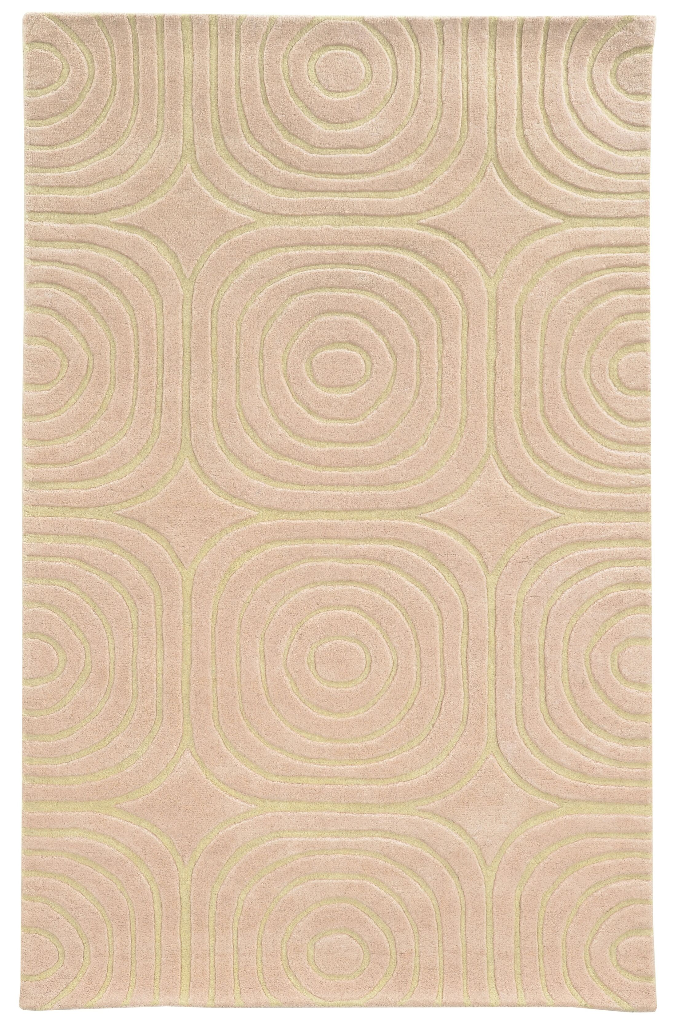 Optic Geometric Pink & Ivory Area Rug Rug Size: Rectangle 3'6