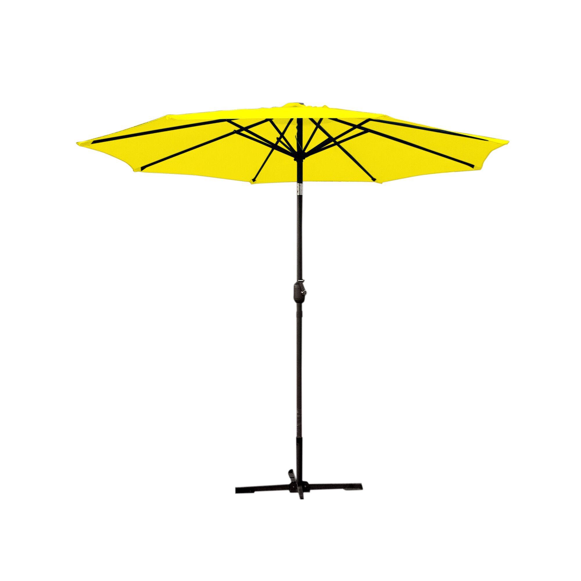 9' Market Umbrella Fabric: Turquoise, Frame Finish: Black