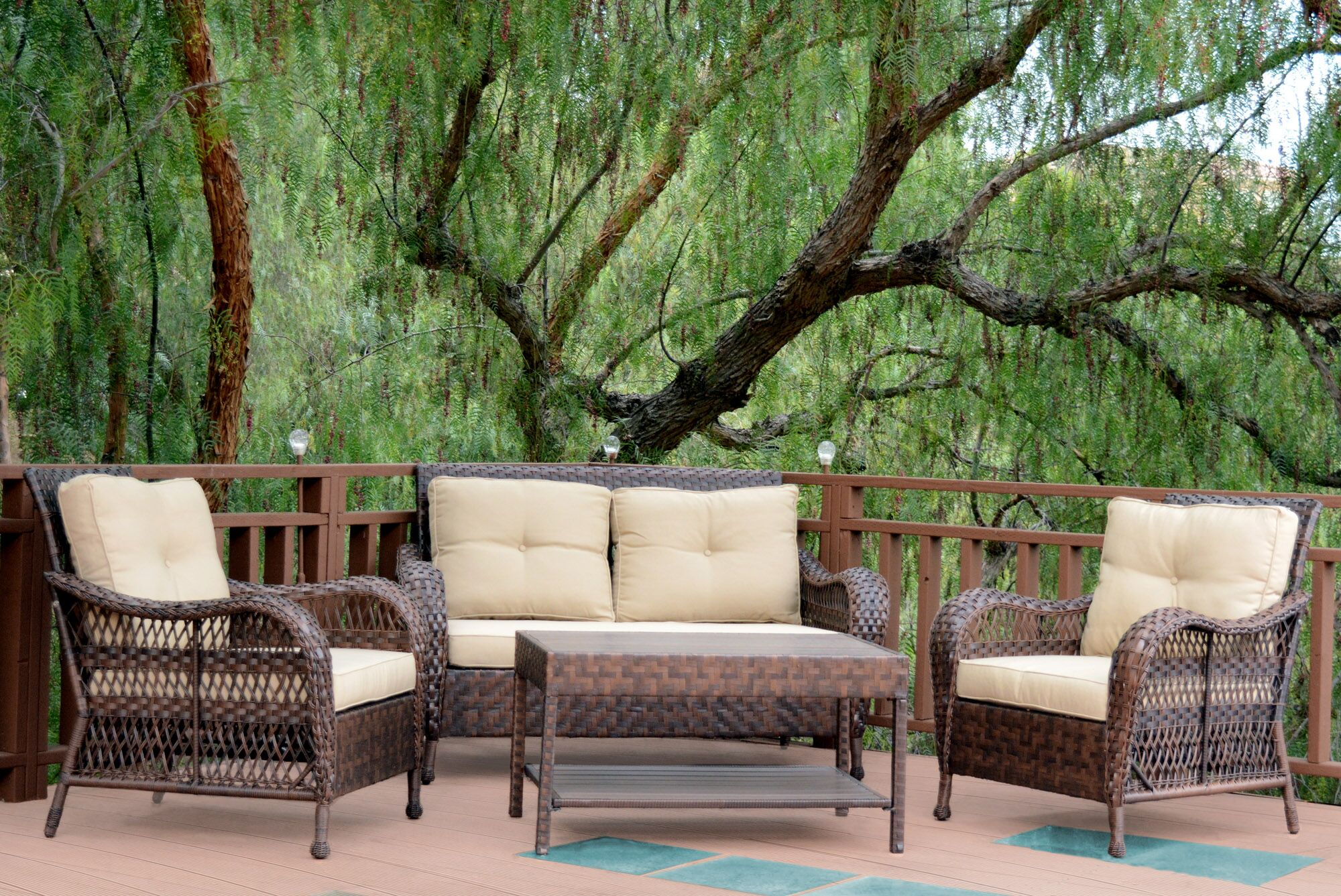 Cromwell 4 Piece Sofa Set with Cushions Color: Tan