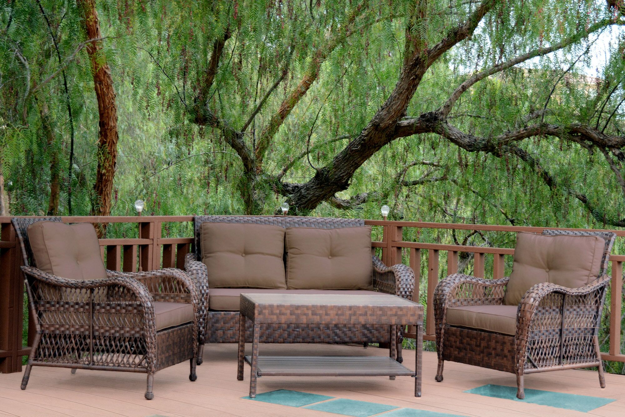 Cromwell 4 Piece Sofa Set with Cushions Color: Brown
