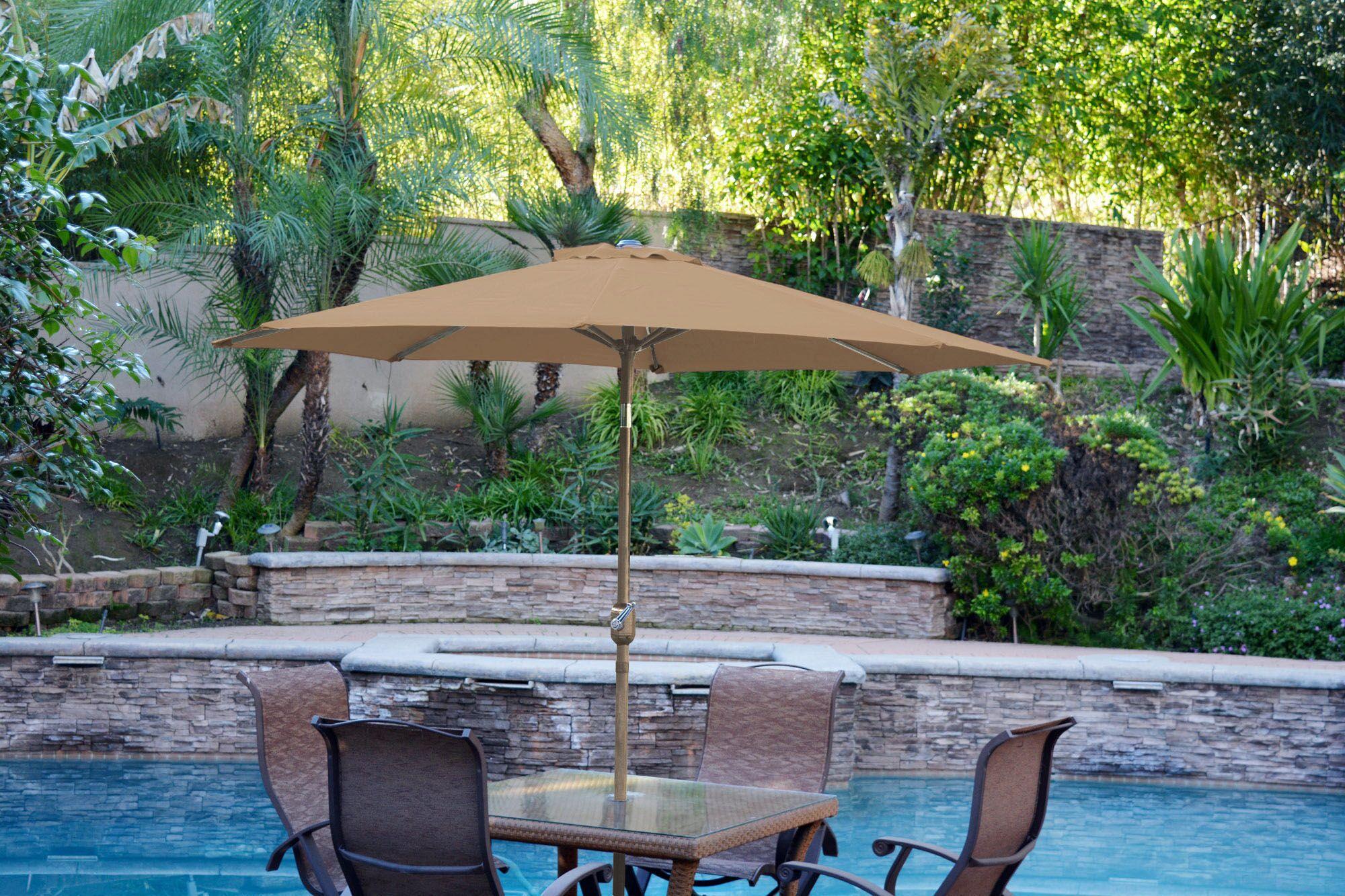 9' Market Umbrella Color: Brown, Frame Finish: Bronze