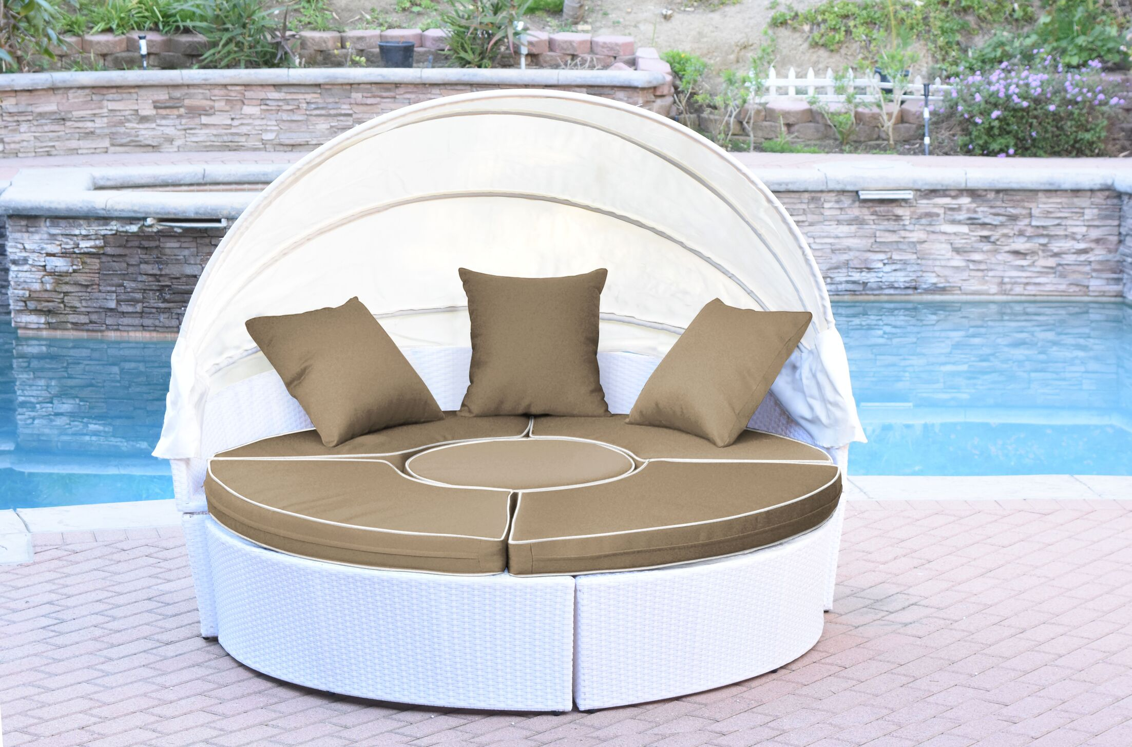 All-Weather 4 Piece Daybed Seating Group Set with Cushions Fabric: Ivory, Frame Color: White